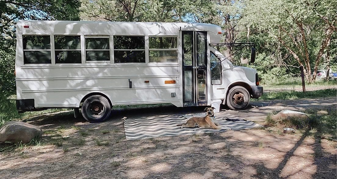 Our first time using the bus at a WI campground. The exterior rug is included in the rental and we are pet friendly! . Blue Bird Bus 2006