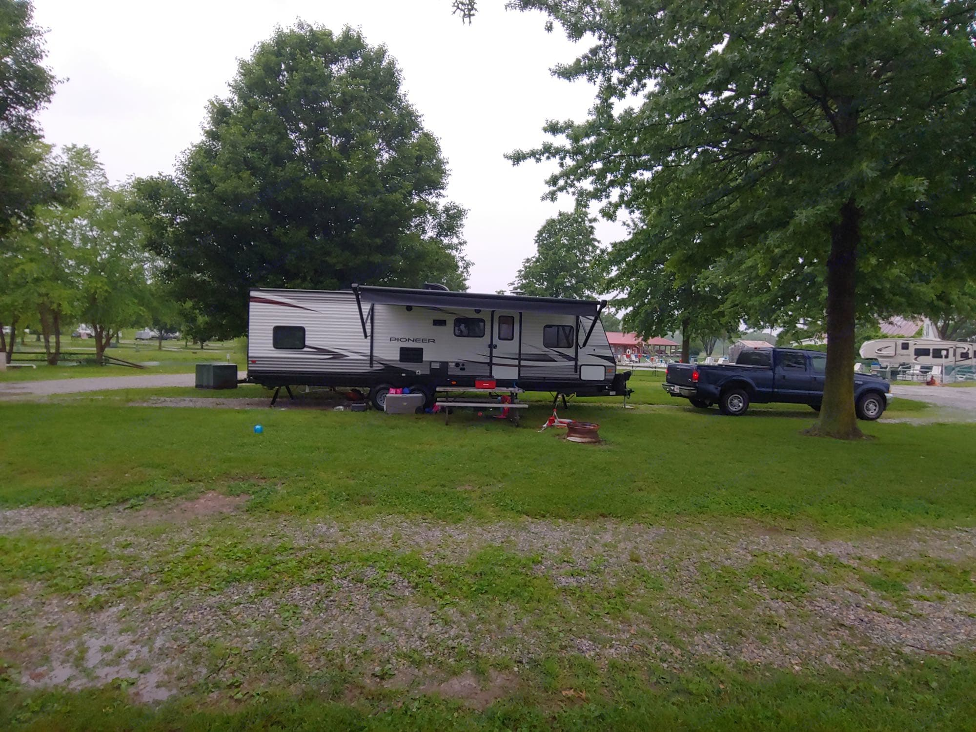 First camping trip for this rig at Little Farm on the River RV in Rising Sun, Indiana.. Heartland Pioneer 2019