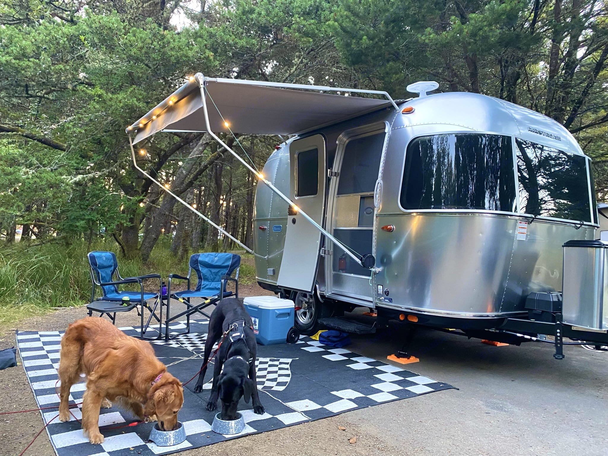 Exterior with outdoor lights and awning extended . Airstream Sport 2021
