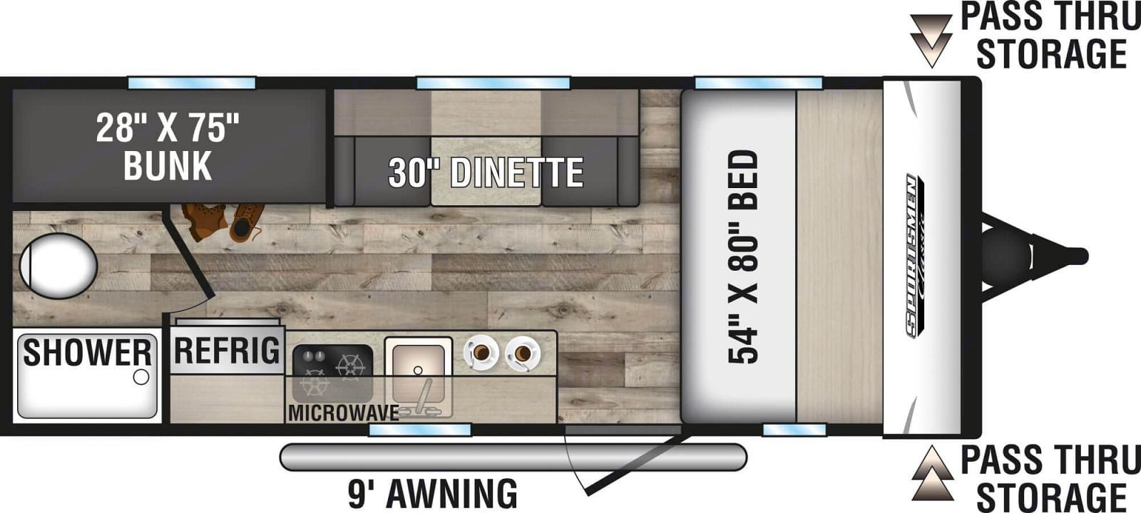 Doesn't how much storage this RV really has.  Above the master bed, over the dinette, above and below the kitchen and large outdoor compartment.. K-Z Manufacturing Sportsman Classic 2021