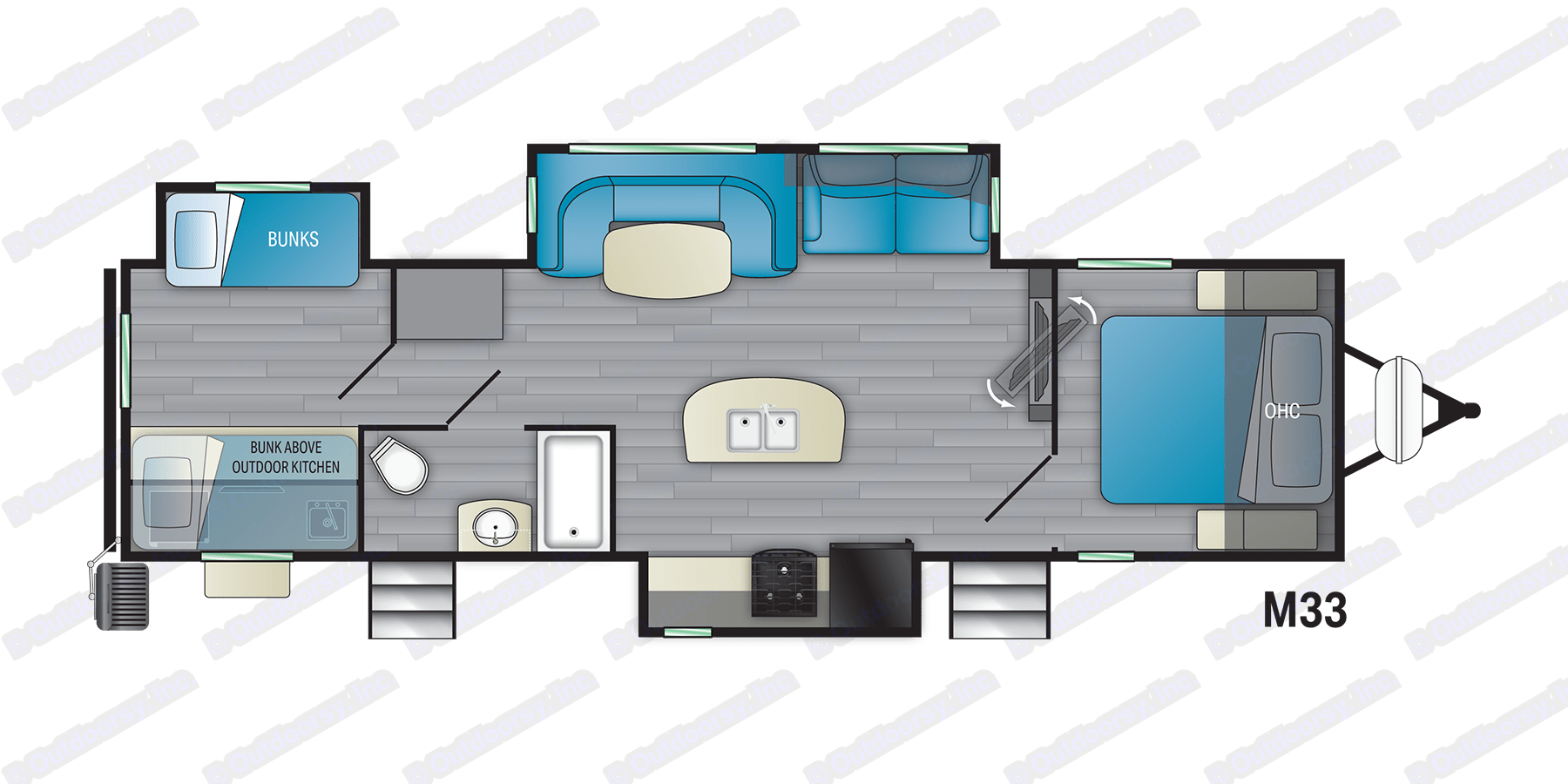 """Very spacious floorplan with 2 external entrances. 3 slides Can access bathroom without entering main trailer for those """"dirty"""" days. Heartland Mallard M33 2021"""