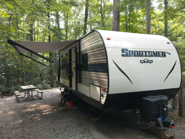 Initiating camper setup at Pocahontas State Park. K-Z Manufacturing Sportsmen 2021