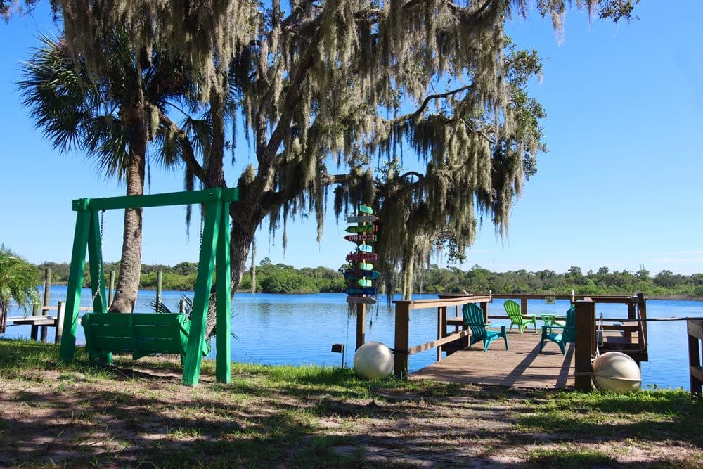 Community swing for two and dock area. Jayco Redhawk 2016