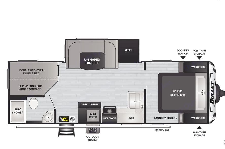 Great layout with some privacy in master bed area, and a spacious bunk house with full size bunks.  Refridgerator and dinette slide out. Keystone Bullet 2021
