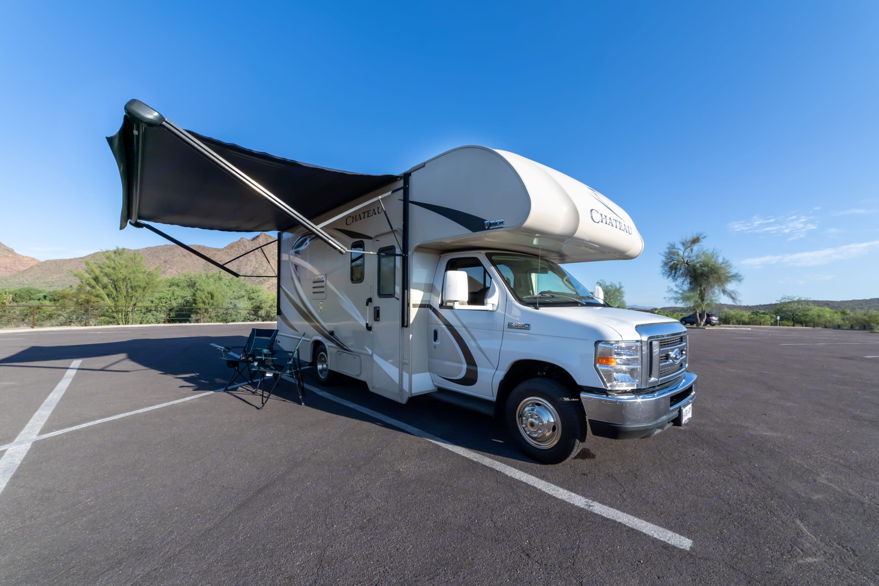 Space under awning is great for relaxing.  It does need to be pulled in if it is windy.  . Thor Motor Coach Chateau 2018