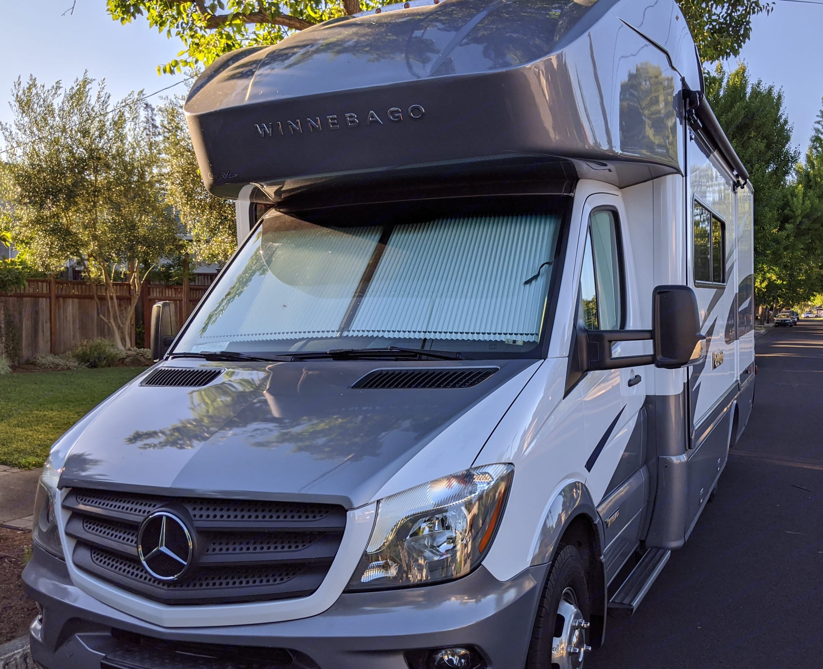 Great fuel mileage for an RV with the performance of a Mercedes engine and chassis. The deisel engine gets 15-17 mpg highway.. Winnebago Mercedes Navion 2019
