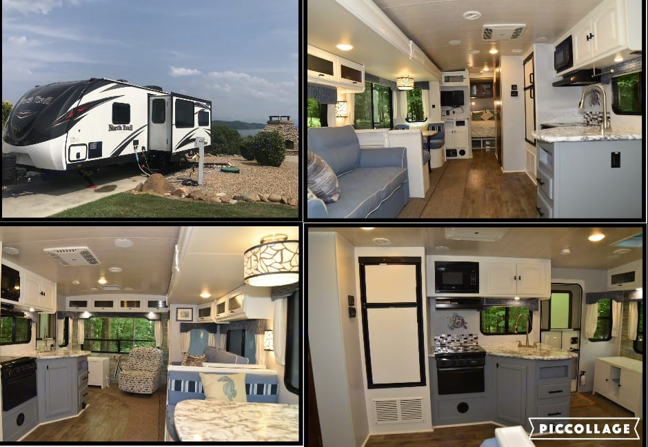 Bright interior, new upholstery, unique sliding barn door, updated cabinetry, and spacious enough for the whole family.. Heartland North Trail 2017