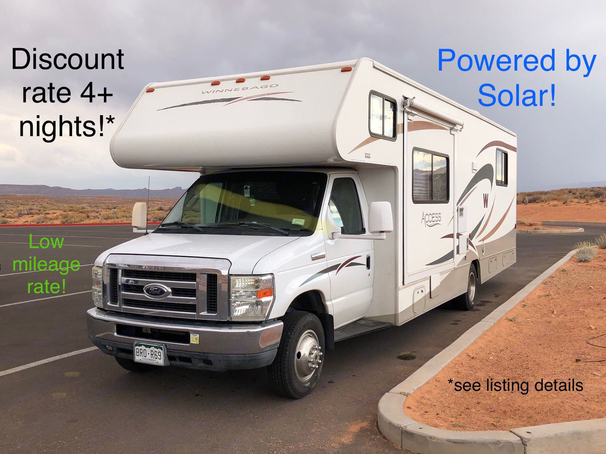 Solar power is a rare and useful custom upgrade. It will allow you to power your electronic devices on the go without the need for a gas generator!. Winnebago Access 2008