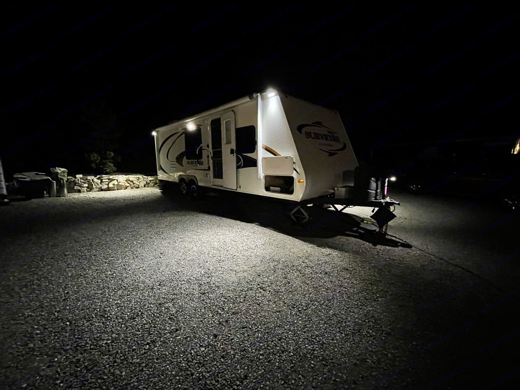 I have added a whole bunch of led lighting to the exterior of the trailer providing excellent light at night!. Forest River Surveyor Sport 2011