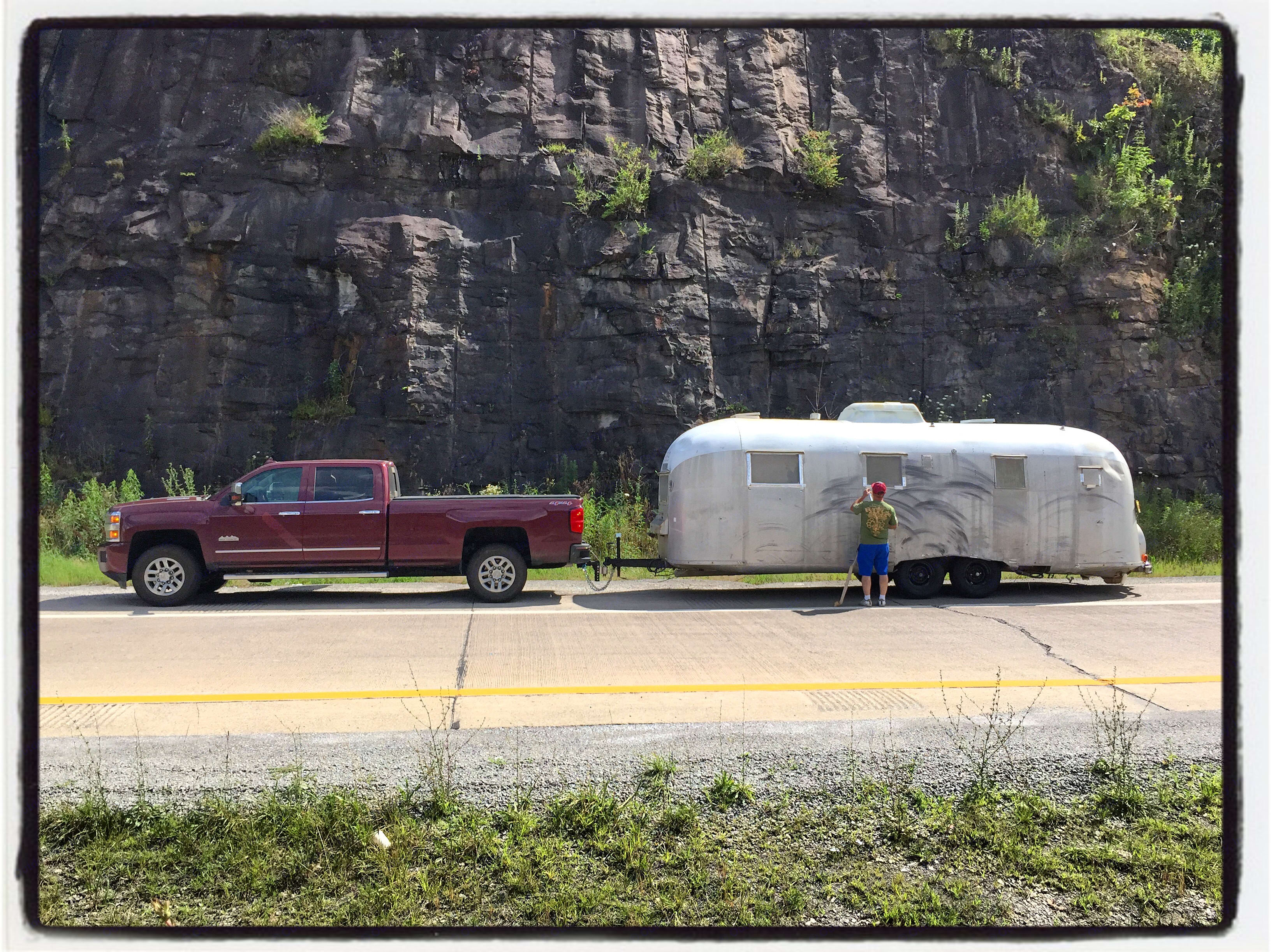 In western Pennsylvania, towing Mahogany (our 1961 Airstream Overlander) for the big restoration.. Chevrolet Silverado 3500 High Country Duramax 2016