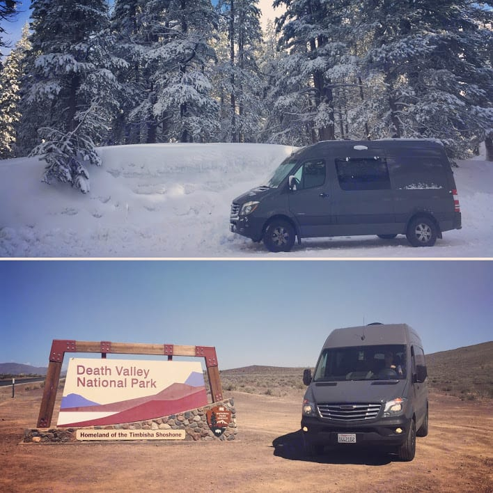The van in Tahoe and Death Valley this winter (back to back weekends!). MB Sprinter 2016