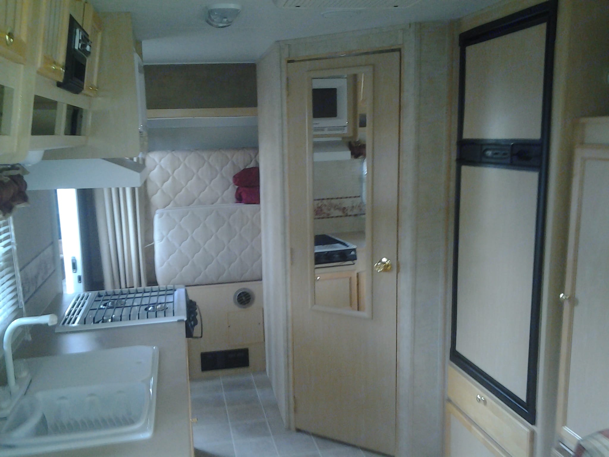 Interior with the rear bed folded up.. Jayco Jay Feather Ultra Lite 2004