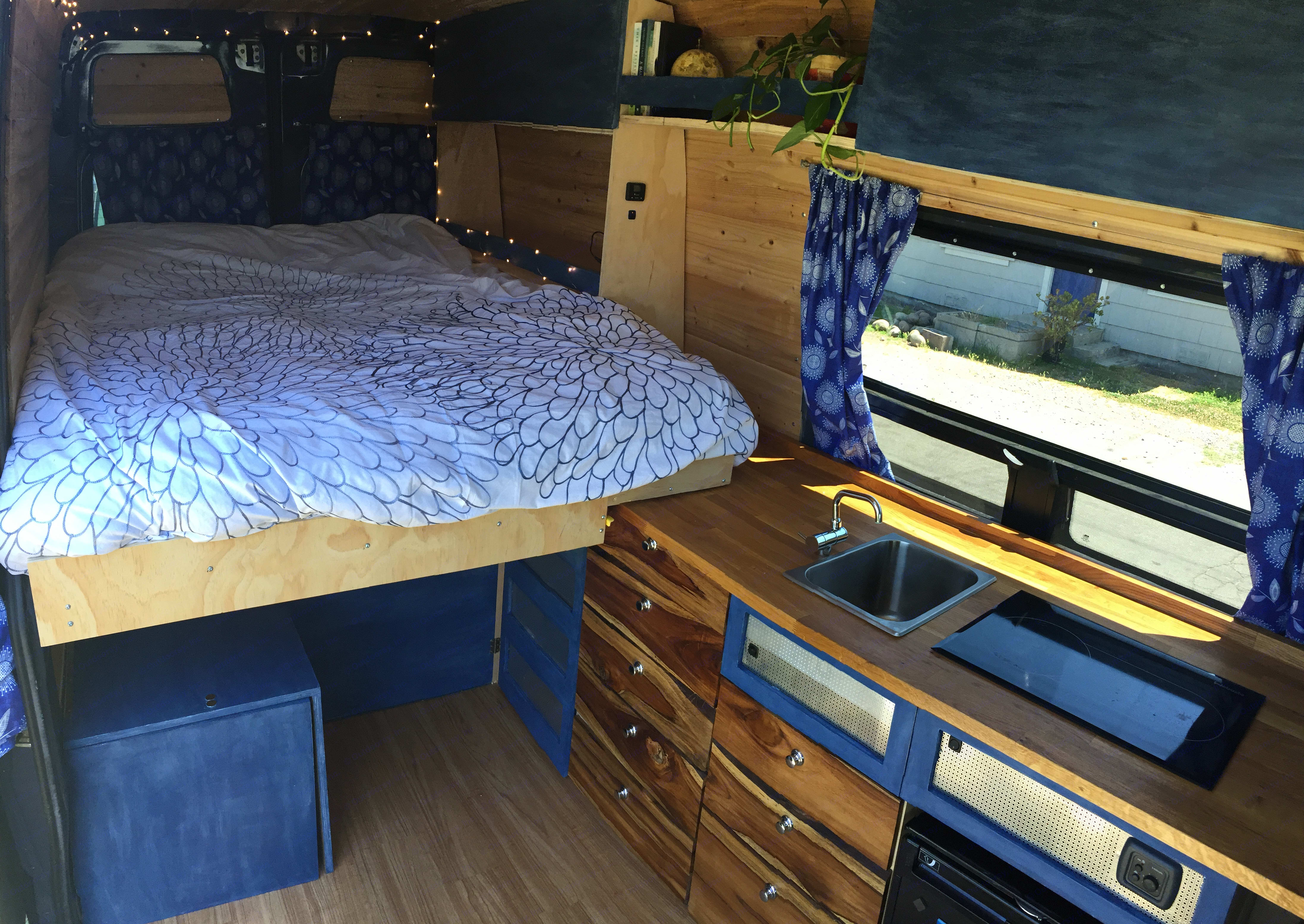 The van has a slide out full sized bed so you can comfortably sleep two.. MB Sprinter 2016