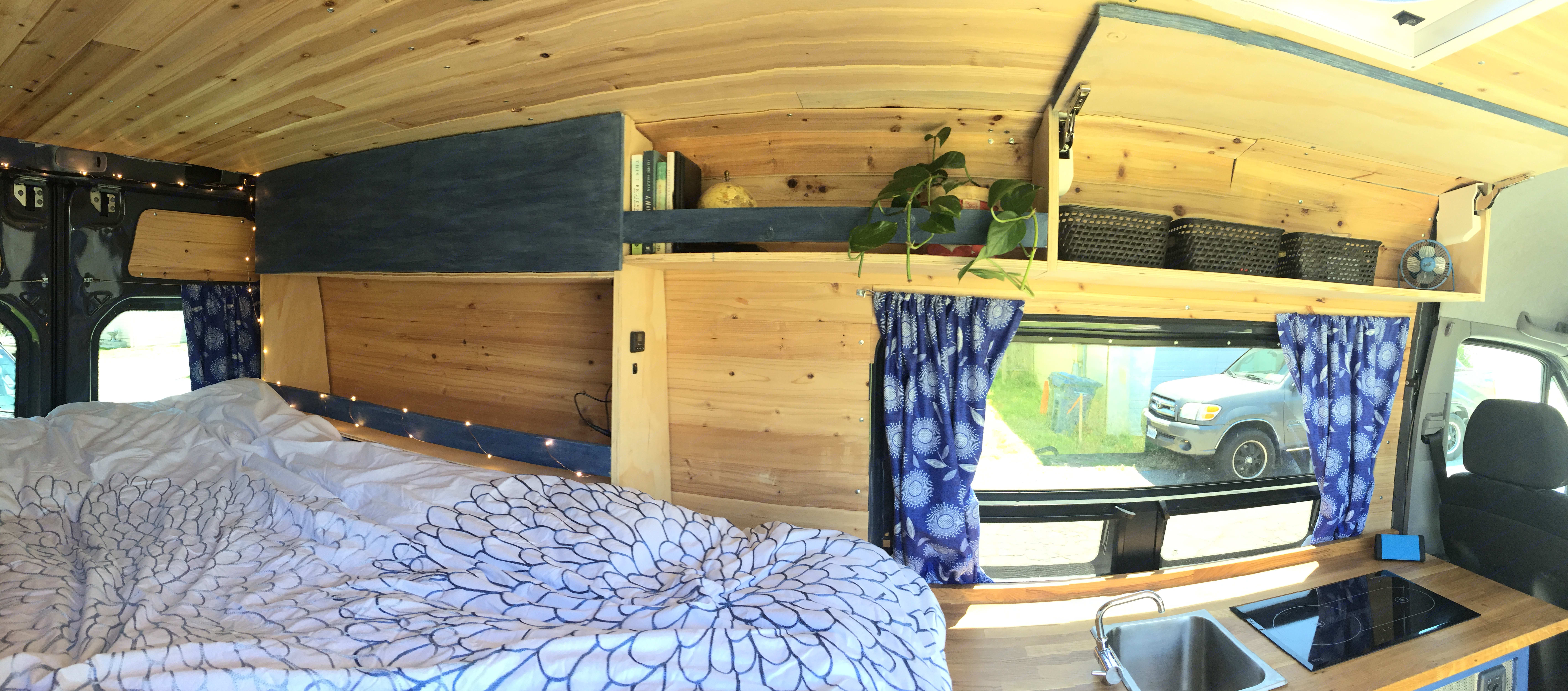 There is lots of storage room with 8 drawers in the kitchen area and a garage under the bed for storage of camping gear/bikes/extras. MB Sprinter 2016
