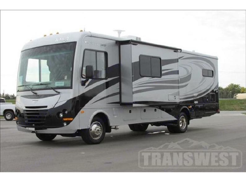 Outside view of coach with front slide open.. Fleetwood Terra 2014