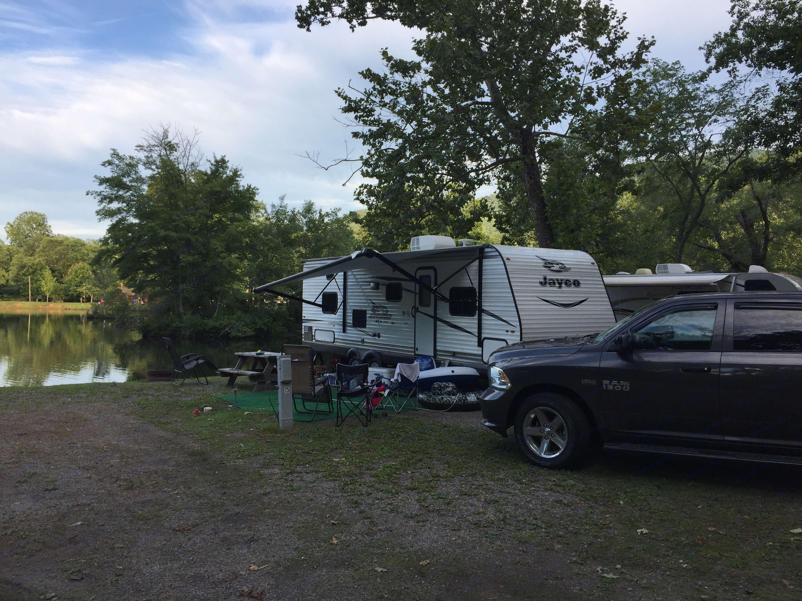 By the lake in Asheville, North Carolina. Jayco Jay Flight 2017