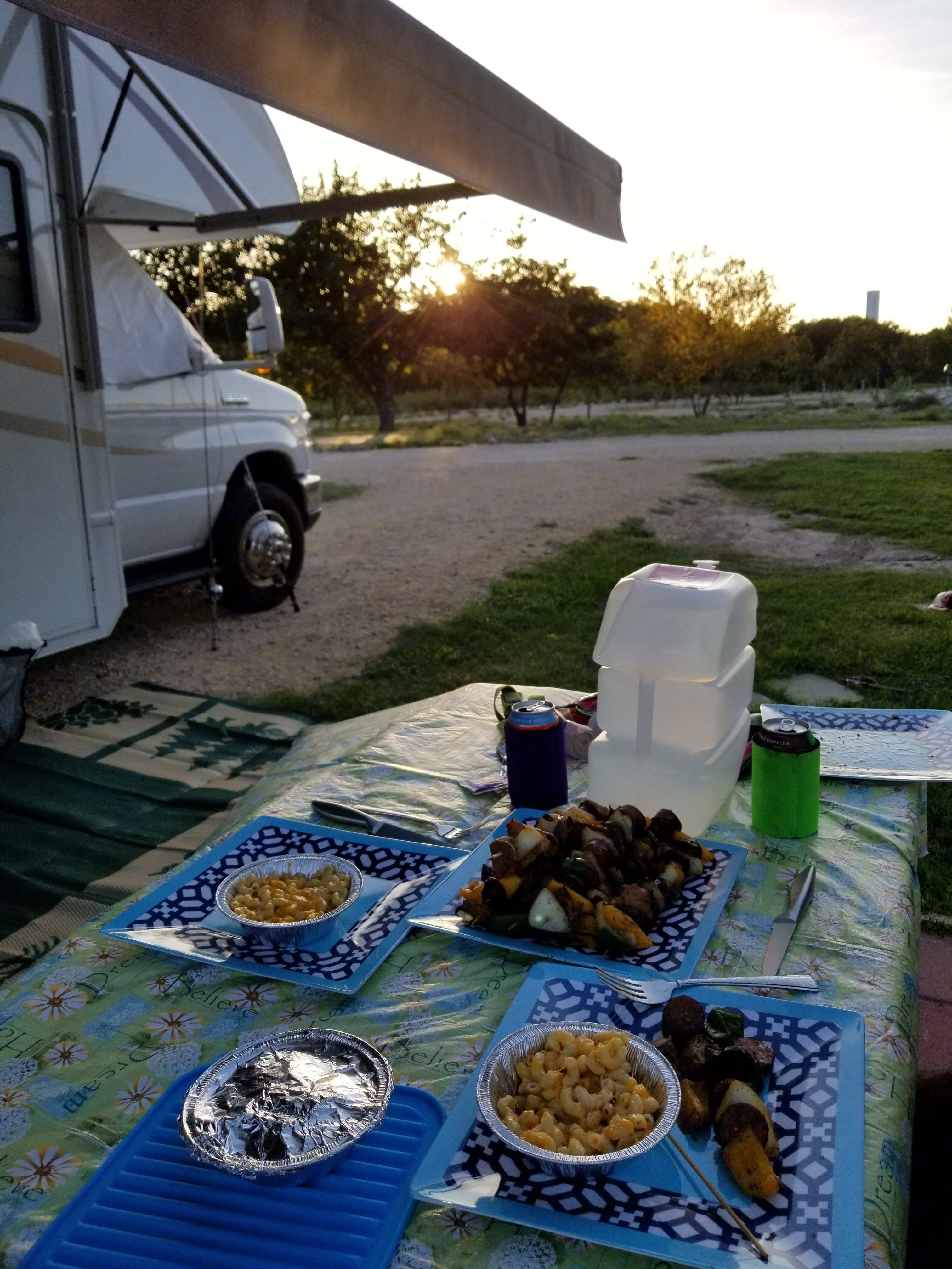 Not to bad, a wonderful dinner by sunset for our first night camping in the RV!! You can have this too!. Thor Motor Coach Four Winds 2013