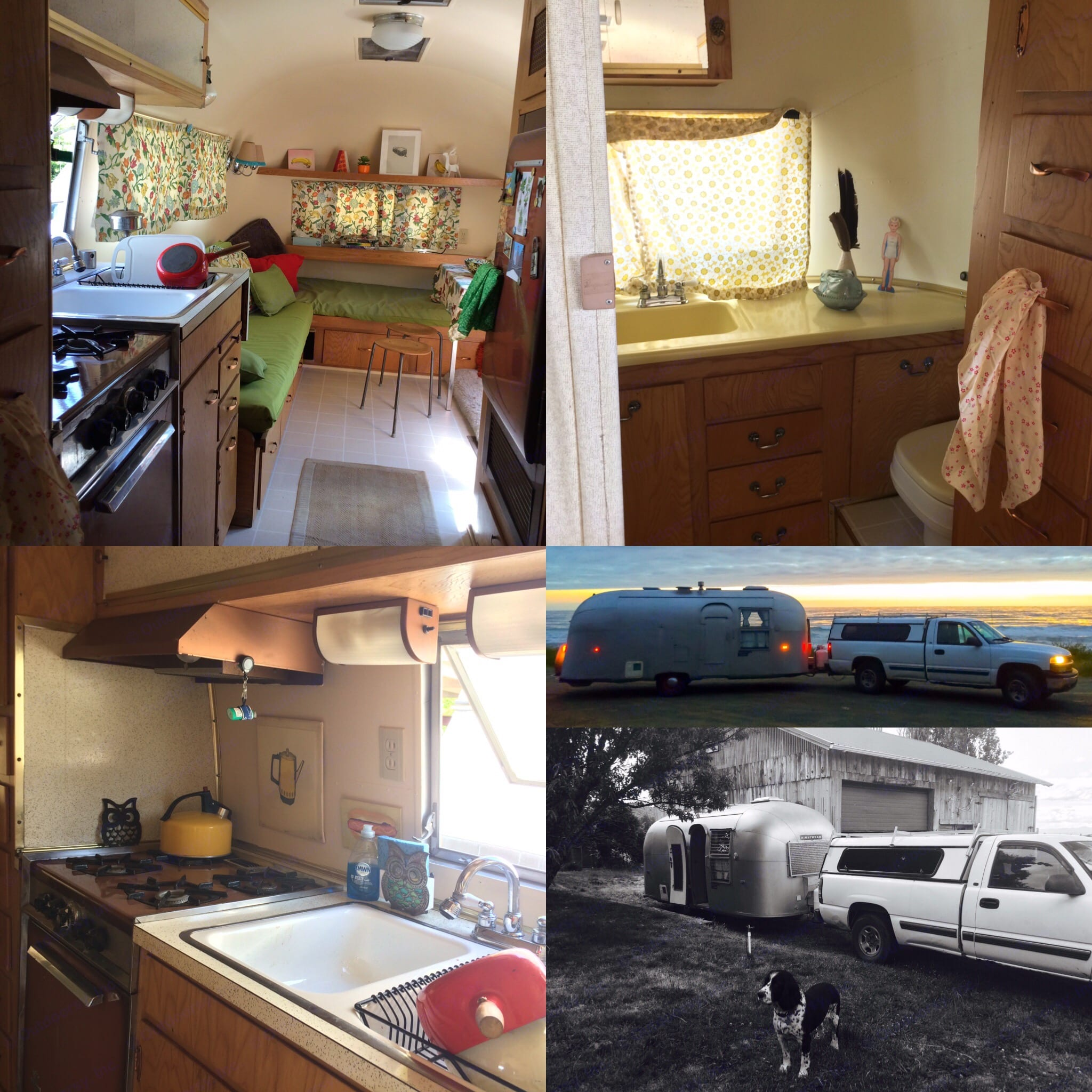 Detail shots of the airstream including kitchen and LR, bathroom sink and toilet, kitchen, and exterior.. Airstream Flying Cloud 1961
