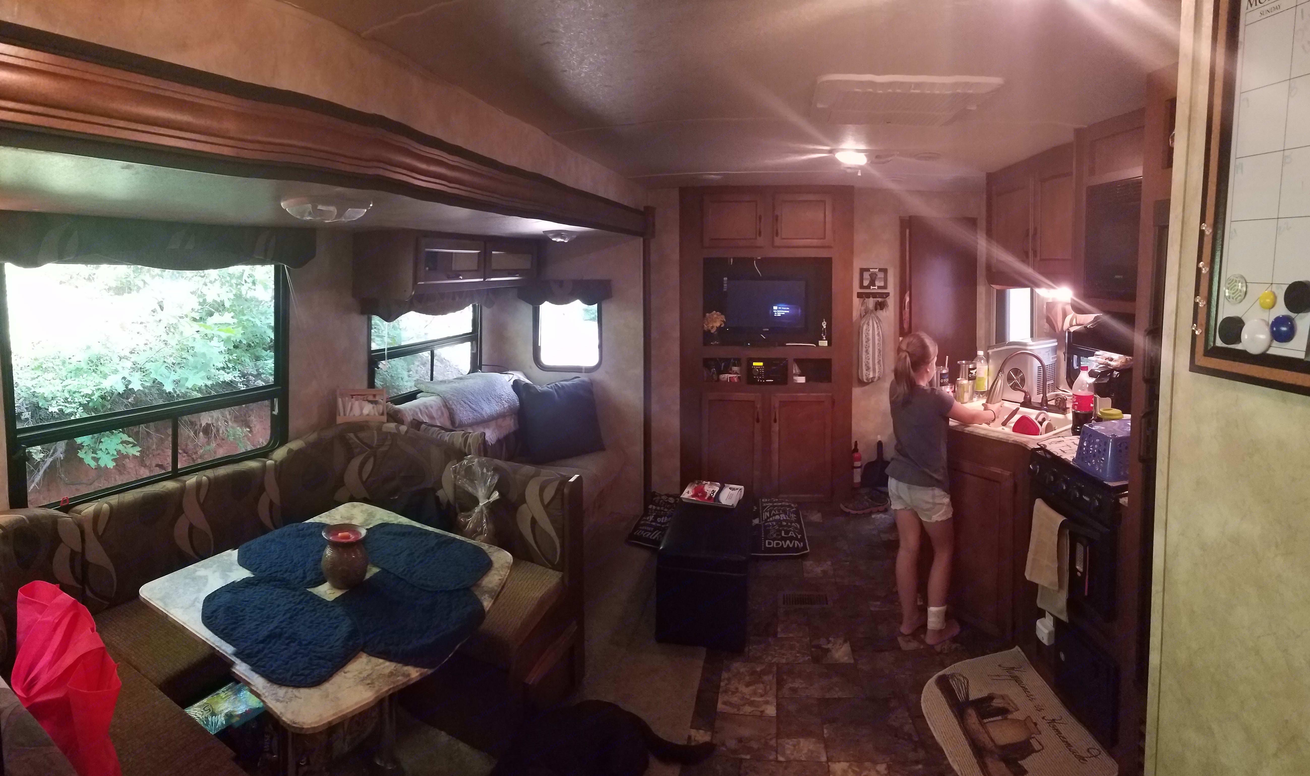 Kitchen and main living area looking towards the master bedroom.. Coachmen Catalina Santara 2014