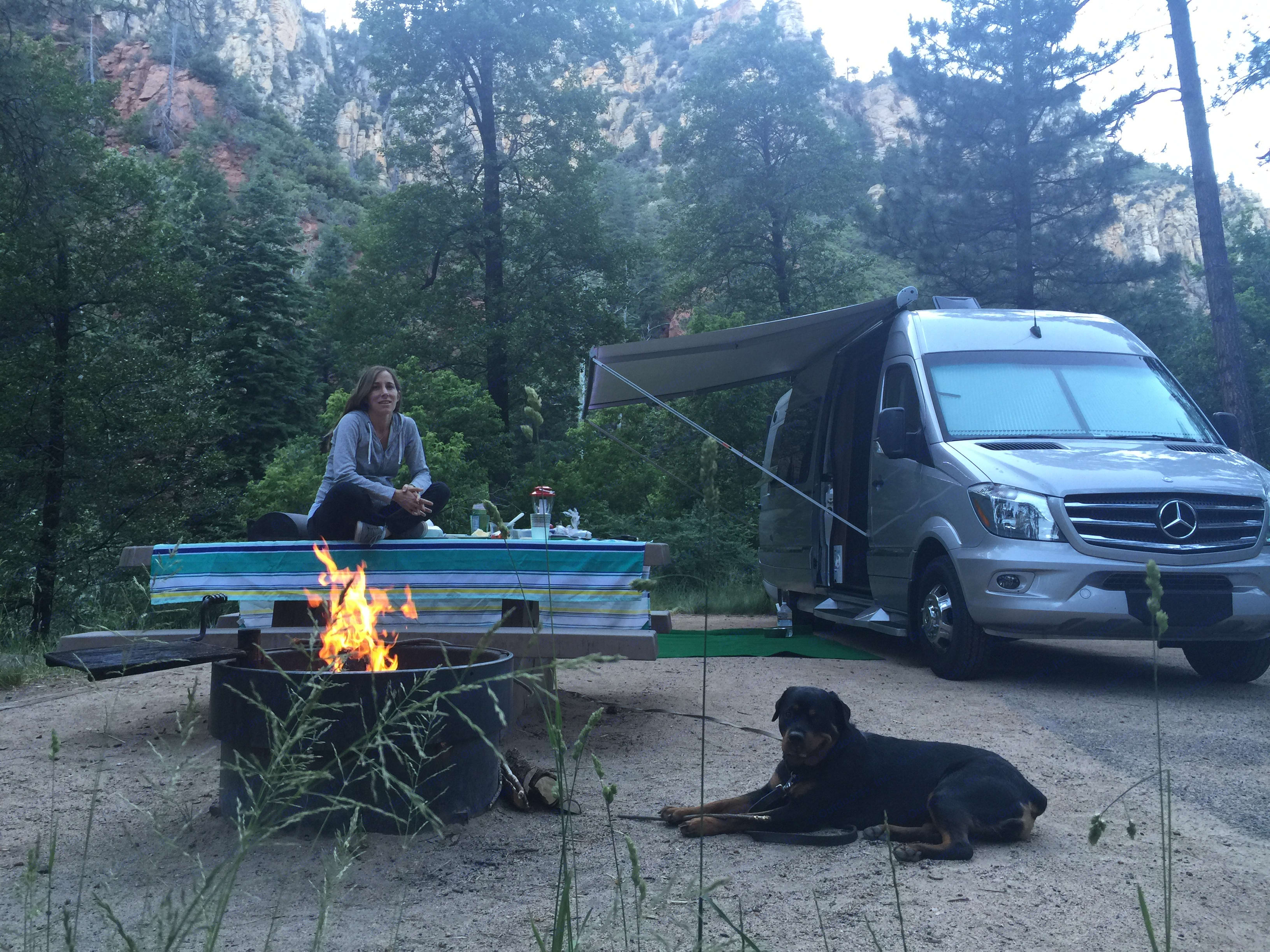 Our Happy Place, Camping with a nice fire, Awning out, in the woods.. Winnebago Era  2016