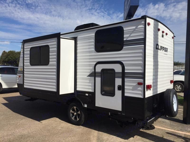 Slide-out dining area makes for plenty of room inside!. Coachmen Clipper 2018