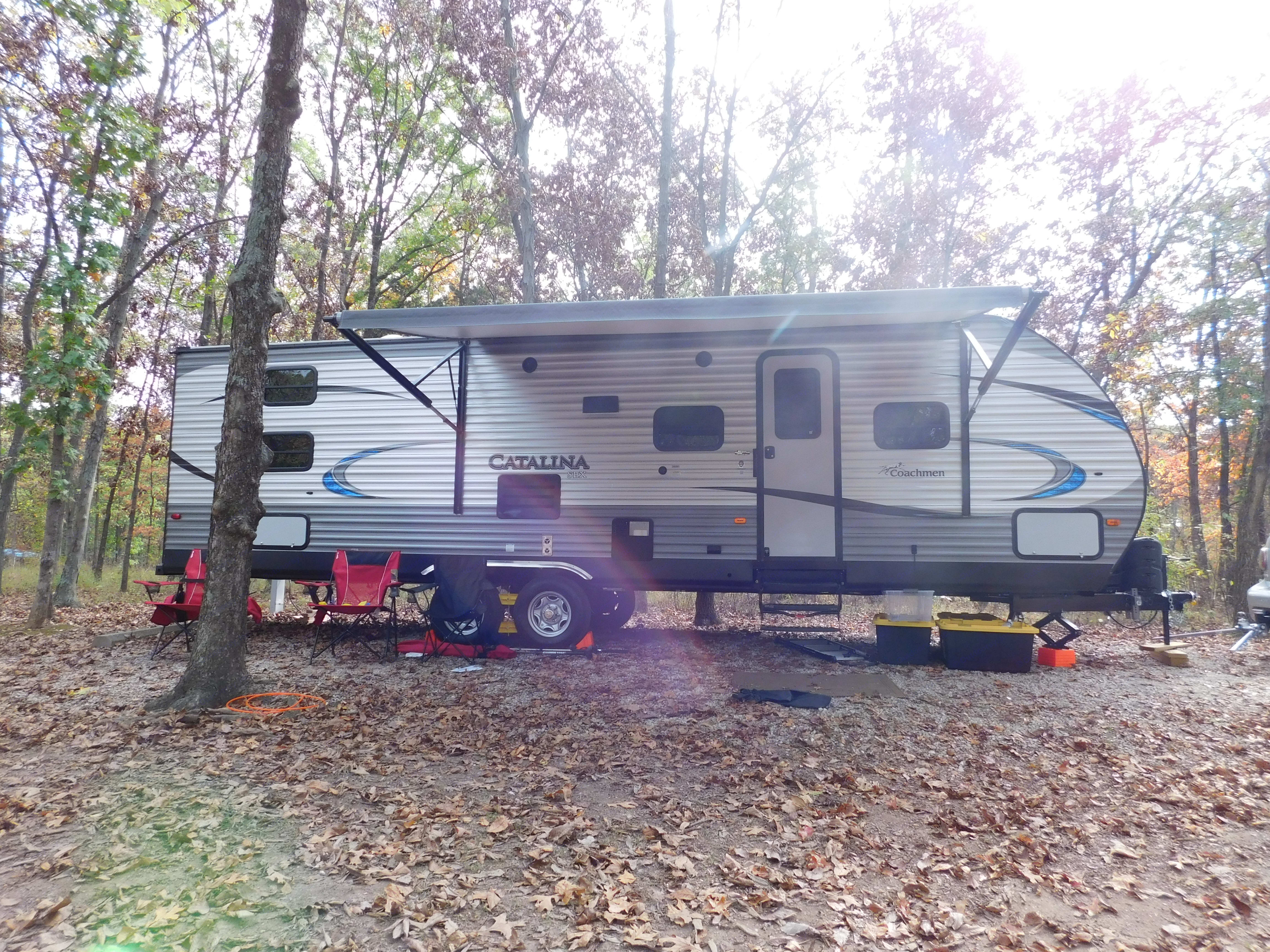Large awning, built in LED lighting and external speakers.. Coachmen Catalina SBX 2018