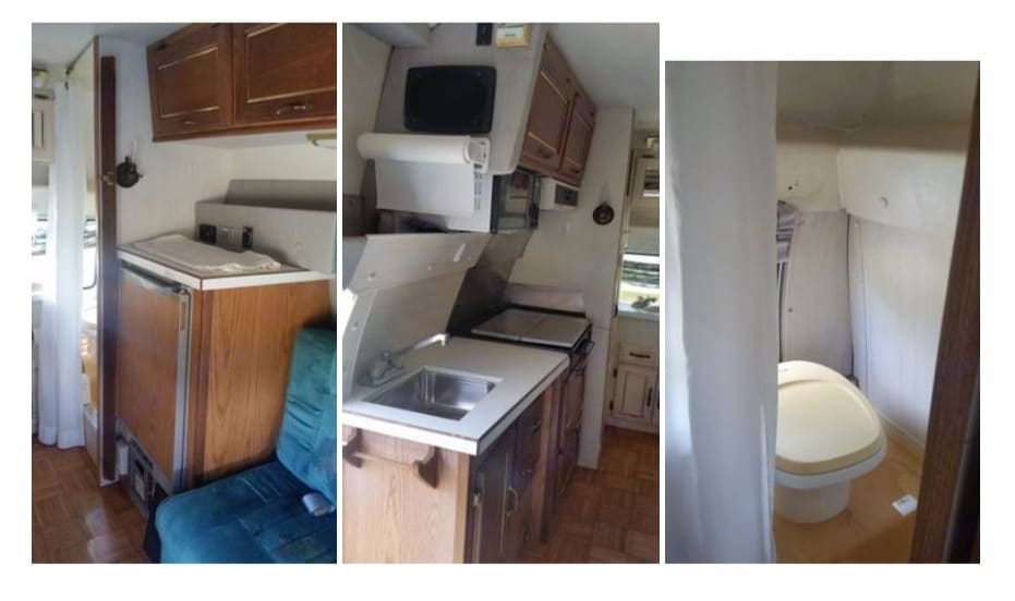 Interior, rear (kitchen, AC/propane refrigerator, microwave, stove, sink, etc.). Great West Vans Classic Supreme 1996