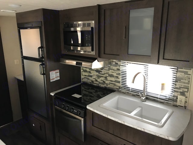 Kitchen area. Forest River Wildwood 2018