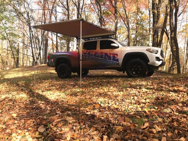 Here is the truck with just the awning - hang out and relax in the shade or easily zip in the tent and get ready for bed. You are really able to pull up just about anywhere and have all your gear easily assessable. Enjoy the great outdoors in some out of the way places while still having some serious creature comforts!. Toyota Tacoma 2016