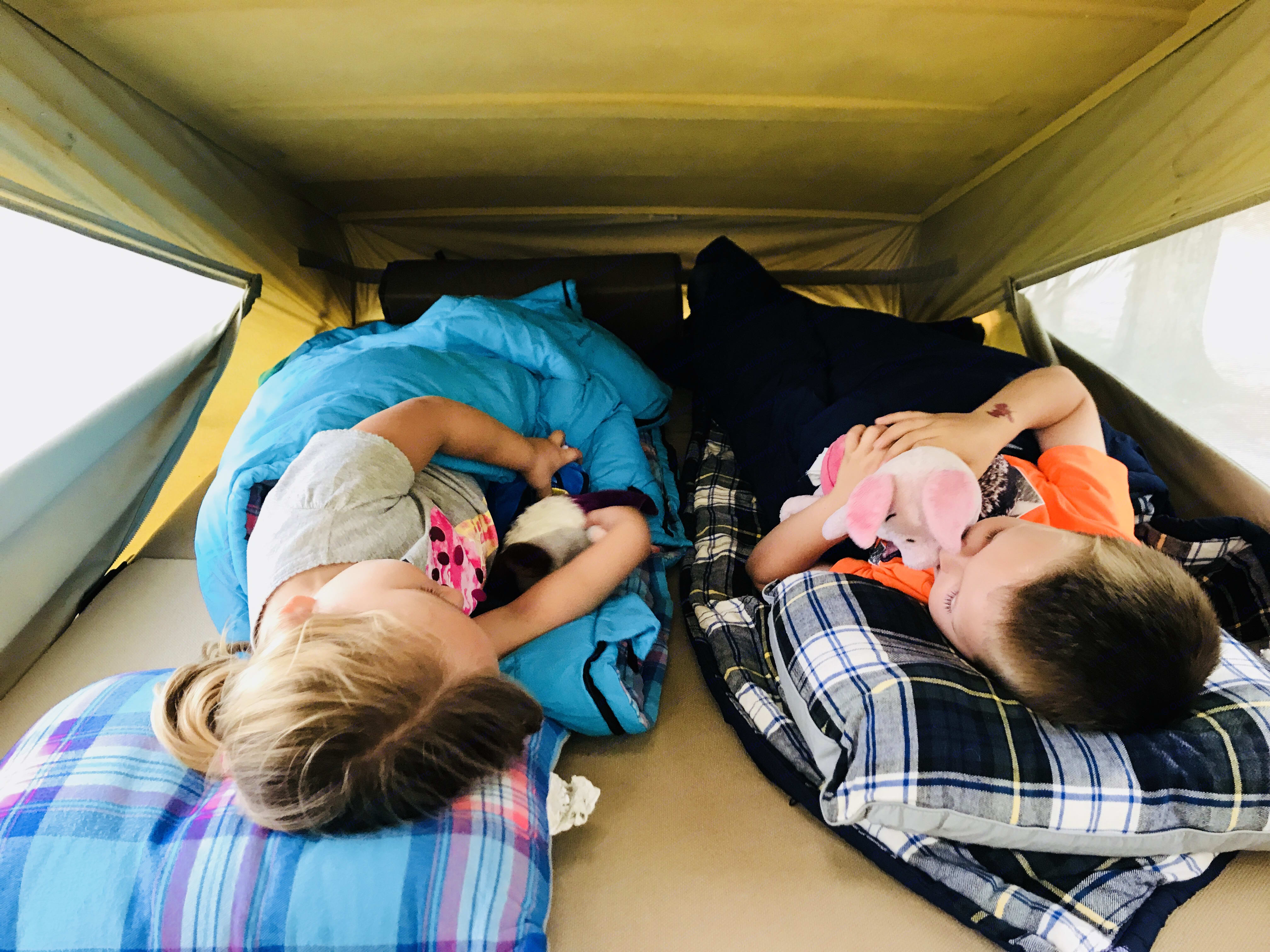 Kids always fight for the top bunk. Volkswagen Westfalia 1988