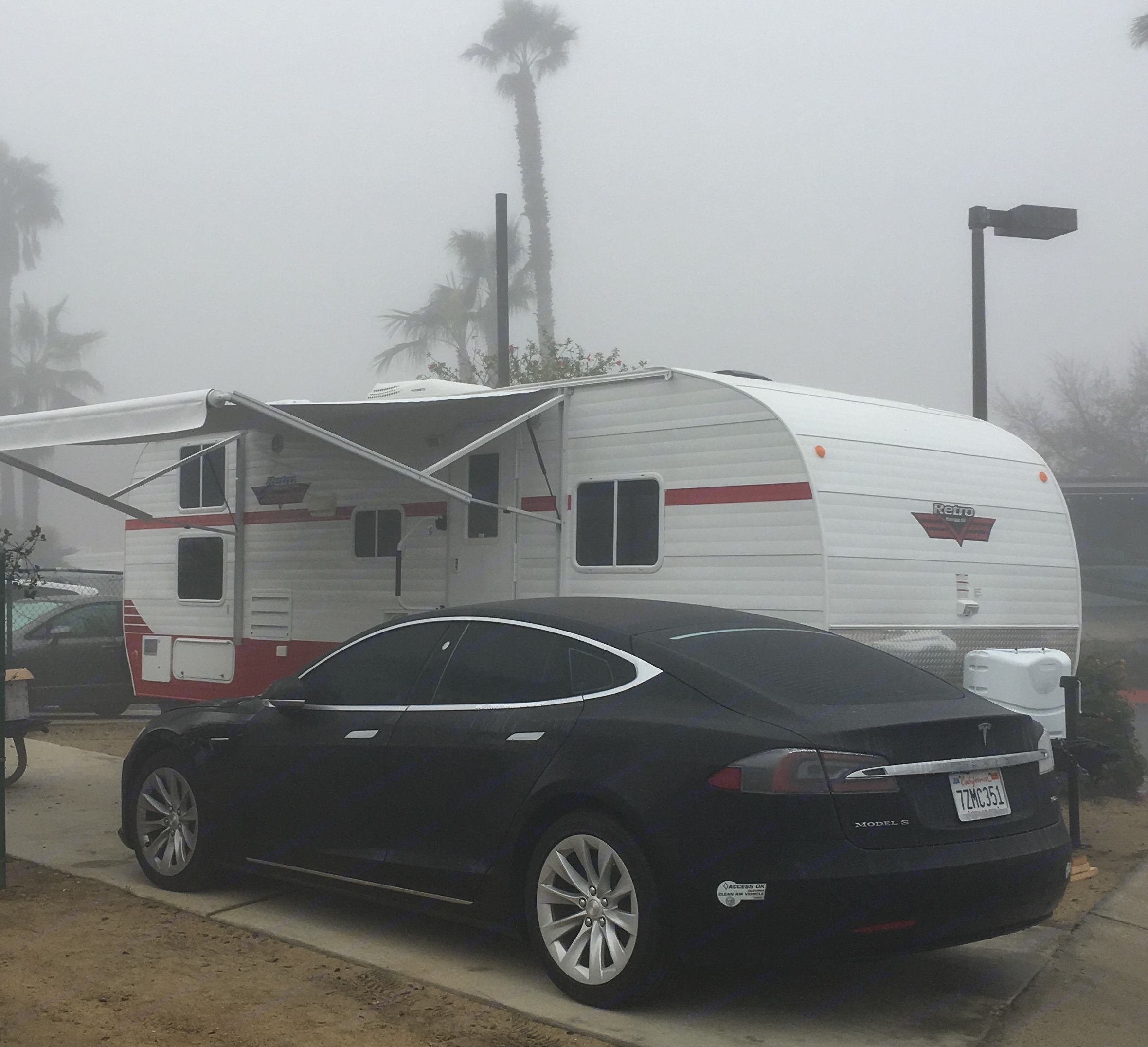 Electric awning, super easy to use. Riverside Rv Whitewater Retro 2018