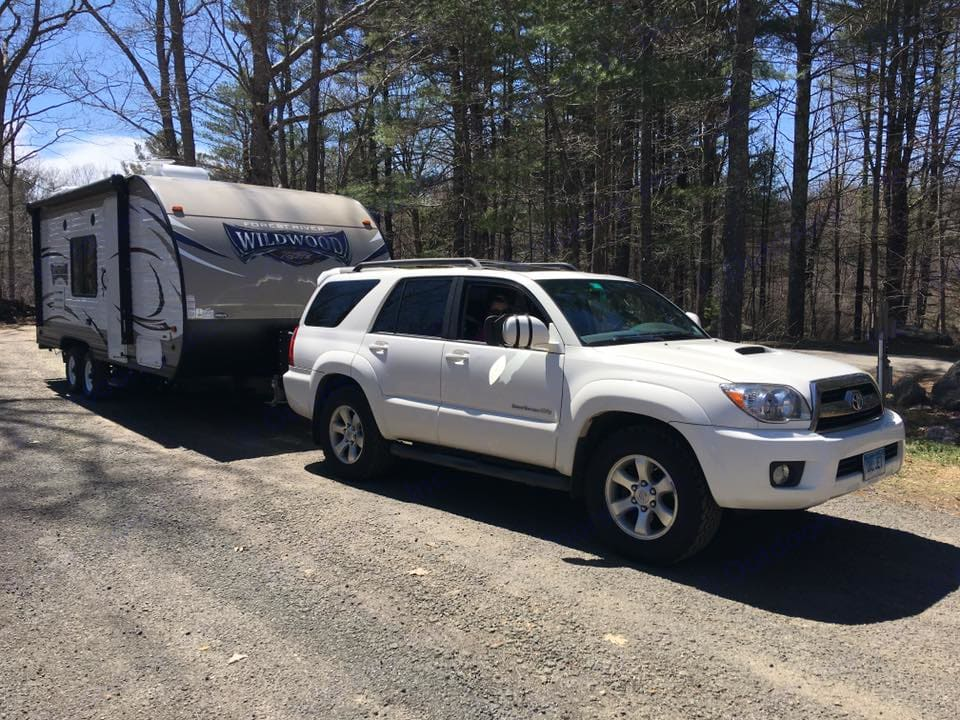 We tow this trailer with our V6 4Runner with no problem. . Forest River Wildwood X-Lite 2017