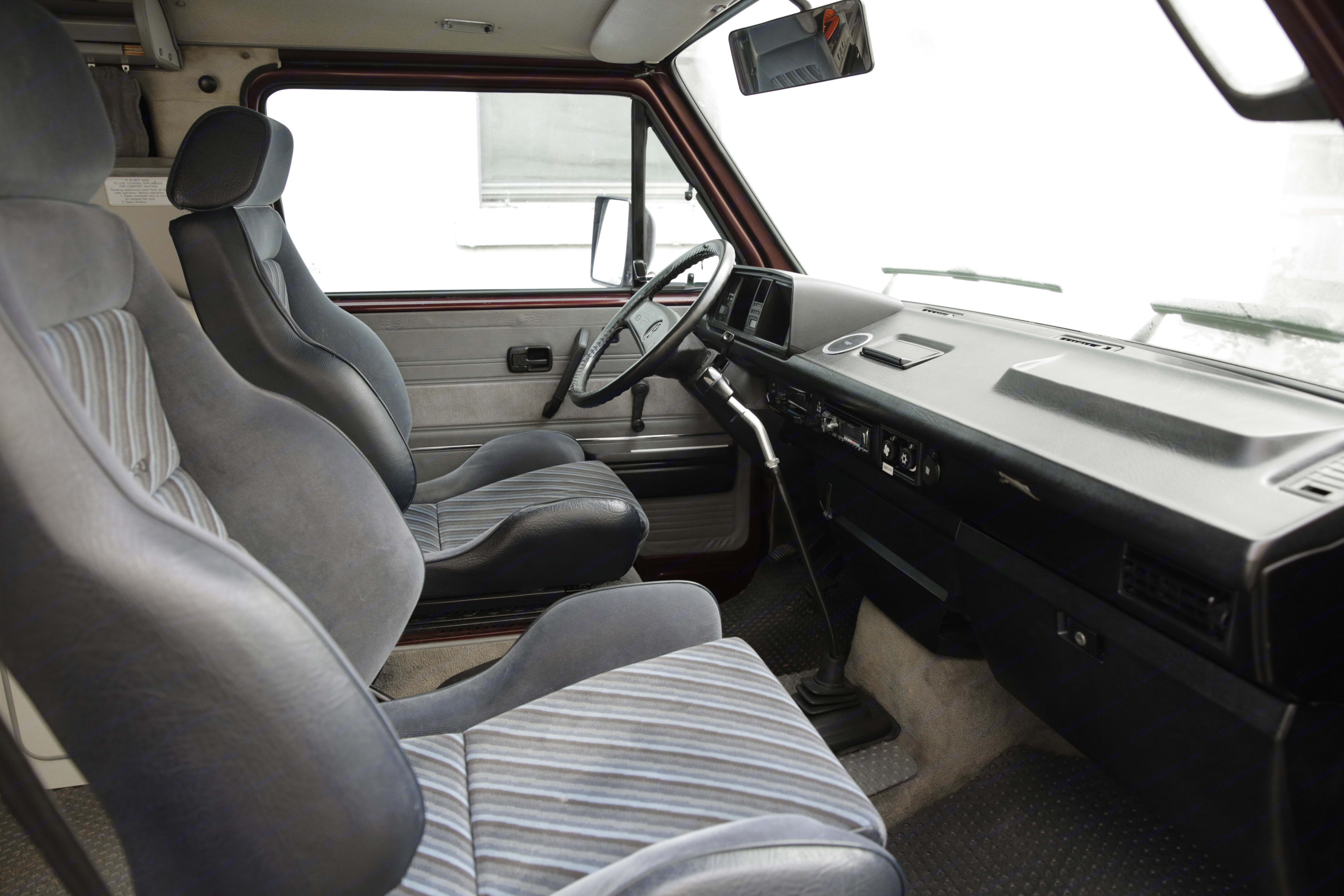 View of the Front Seats and Dash. Volkswagen Westfalia 1990
