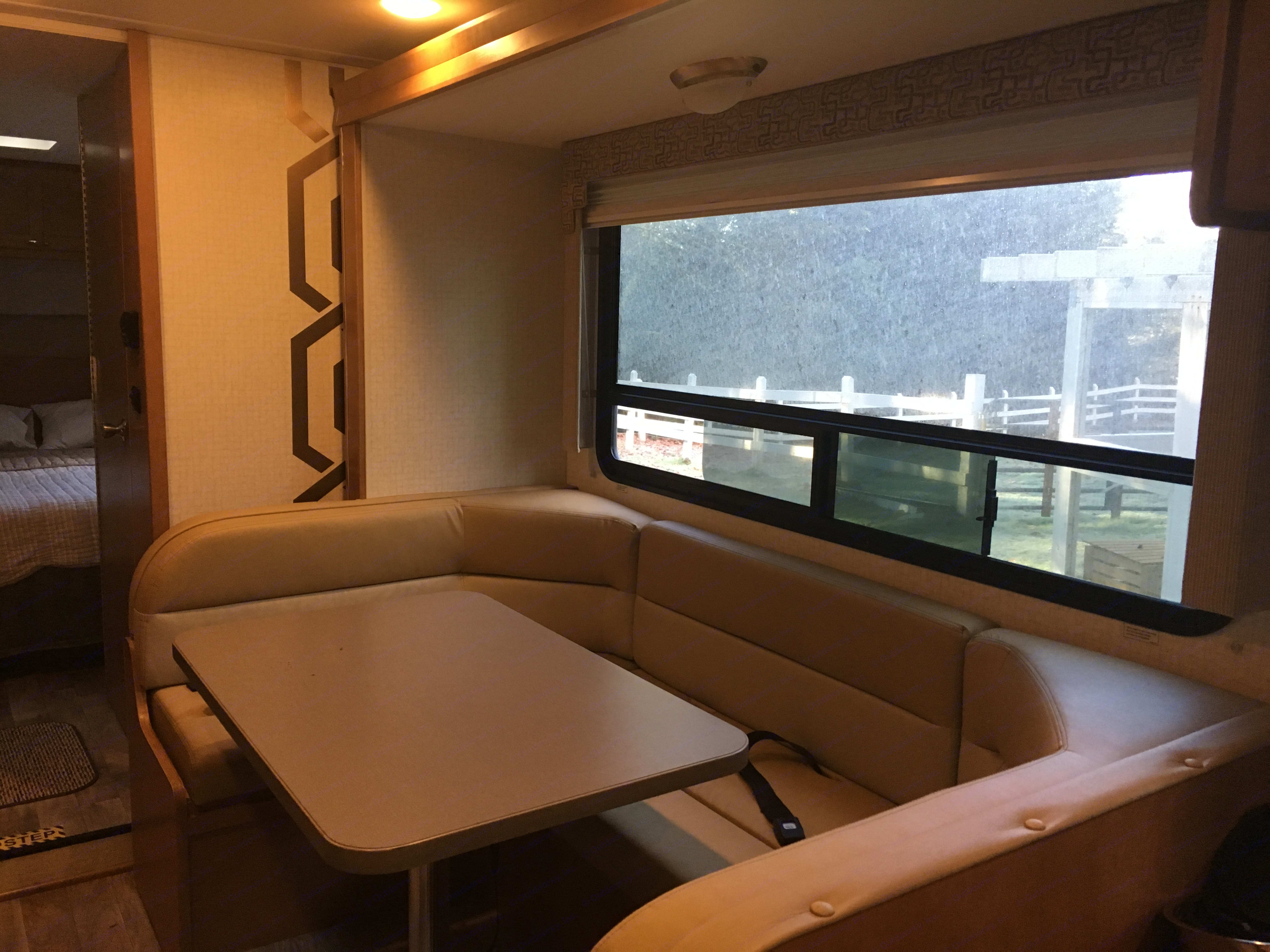 Dining banquette - converts to a bed. Winnebago Minnie Winnie 2017
