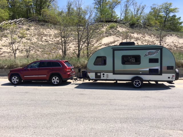 Easily towed behind our Jeep (6cyl). Forest River R-Pod 179 2016