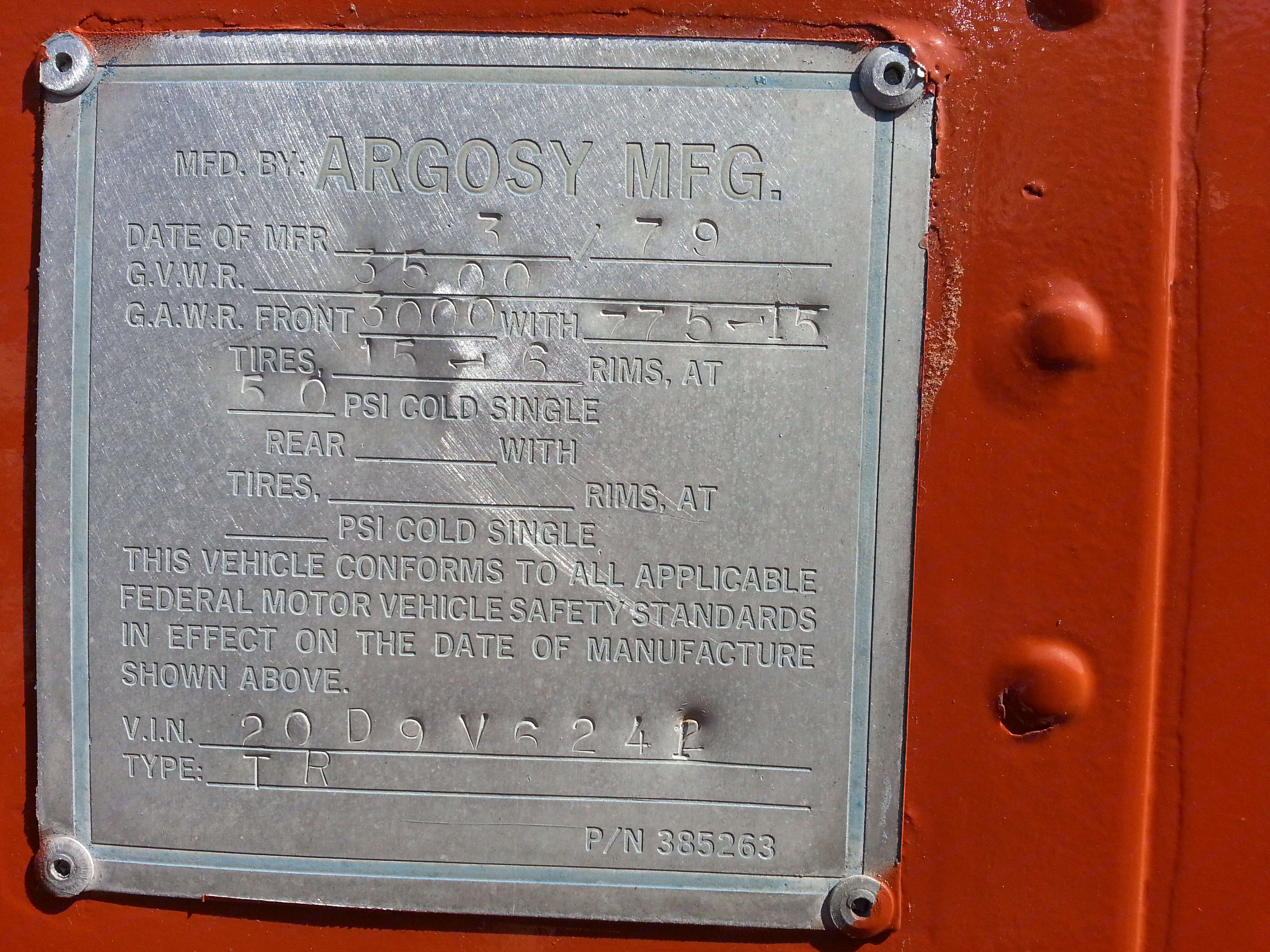 Nameplate. Airstream Argosy 1979