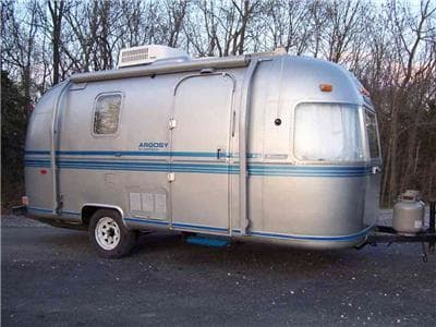 This is an old picture of the trailer, now has new paint job.. Airstream Argosy 1979