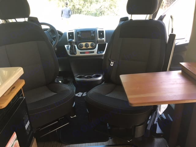 Both seats can be turned  around.. Winnebago Travato 2016