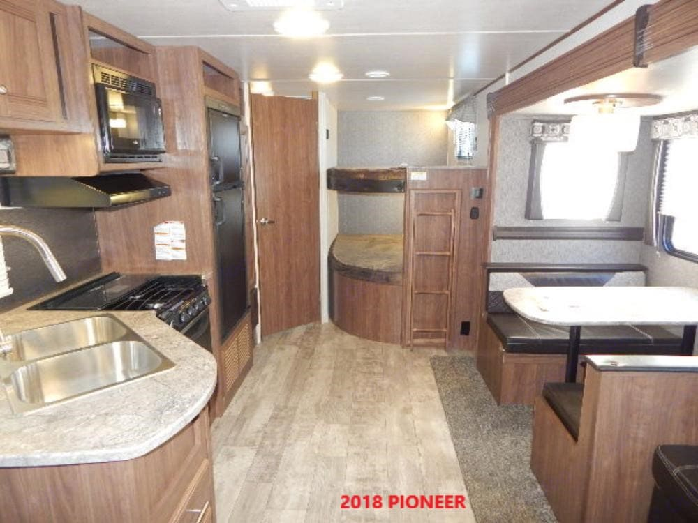 Bunk beds are twin double beds.. Heartland Pioneer 2018