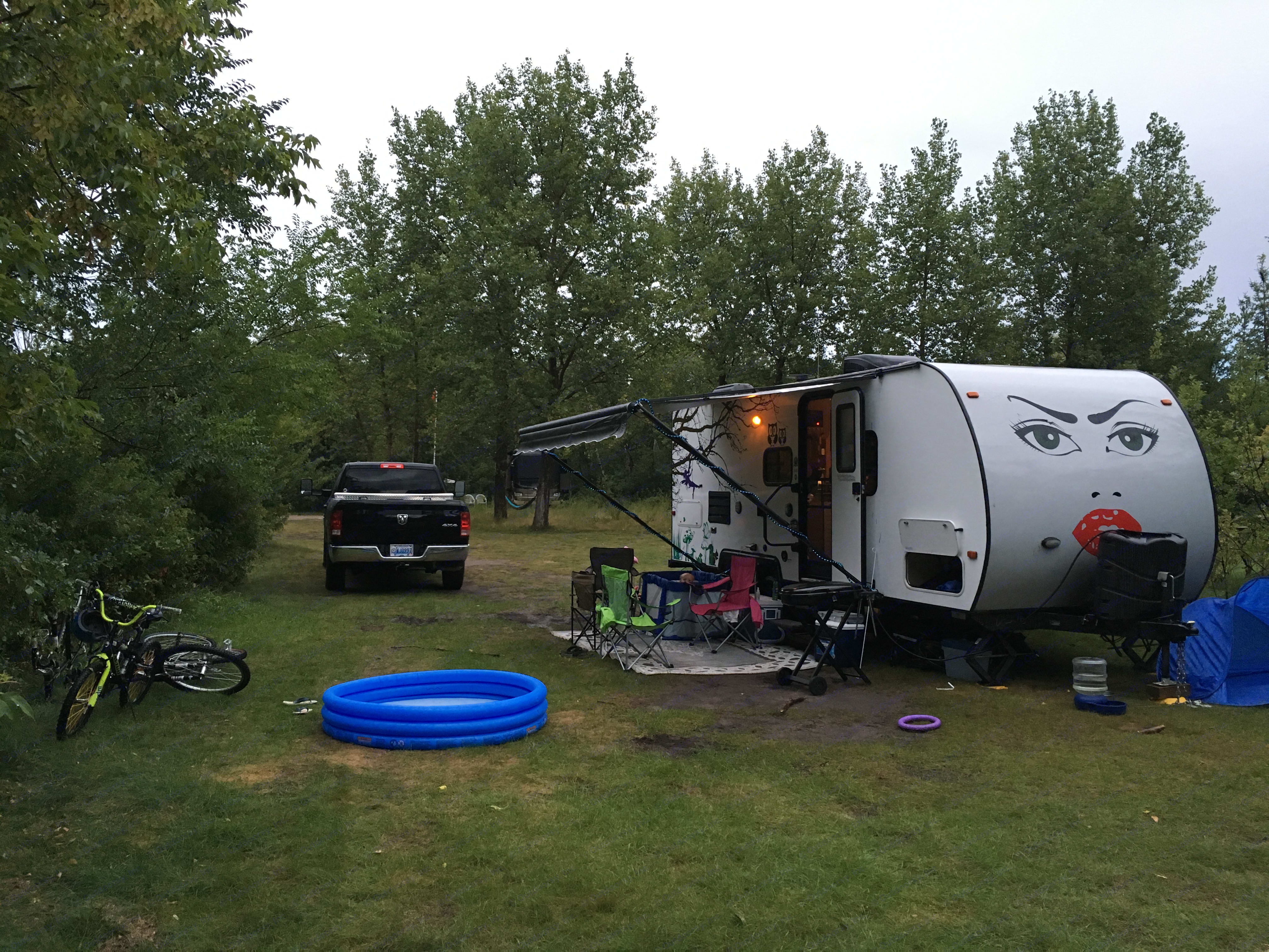 Anoushka in all her glory, fully set up at a campsite with awning extended. . Skyline Ecocamp 2014