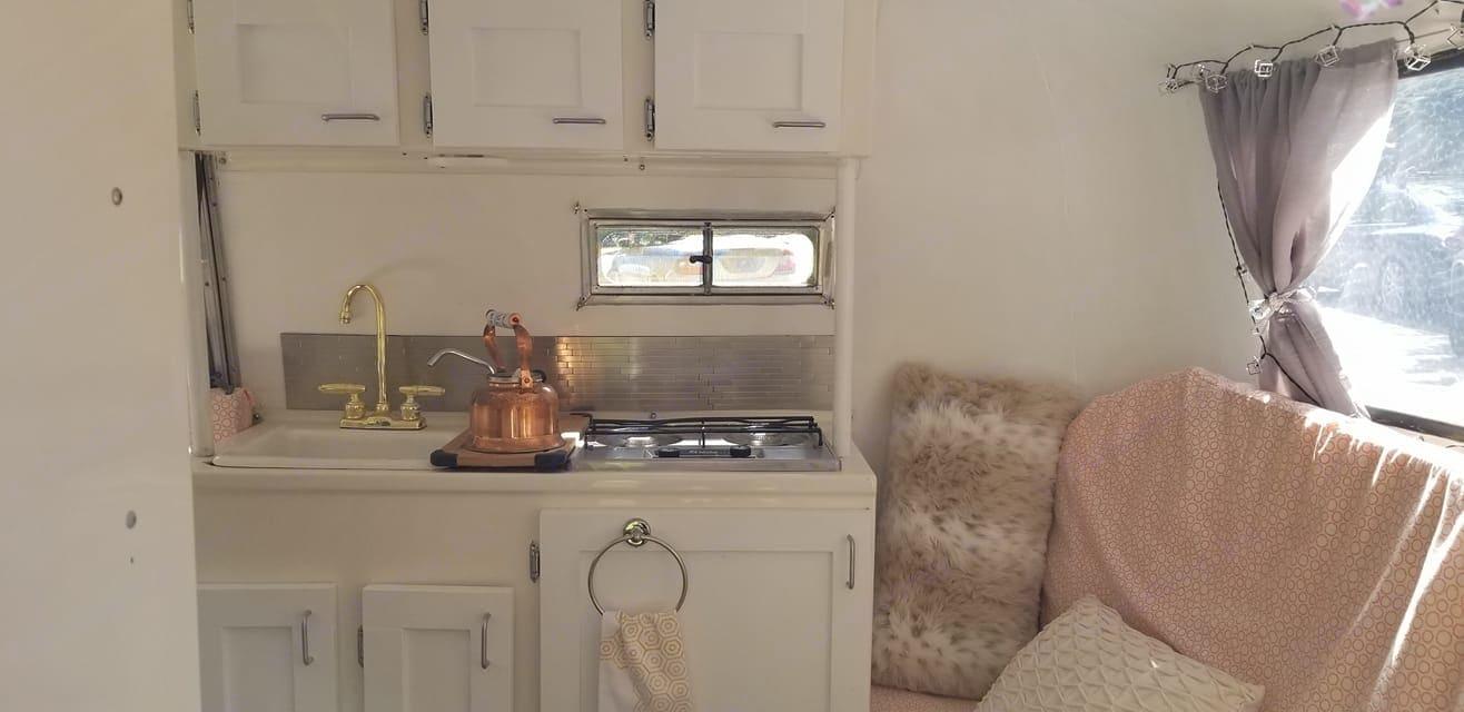 indoor 2 burner stove, ice-box, basic utensils, outdoor 2 burner camp stove & fuel provided.. Boler 13' 1973