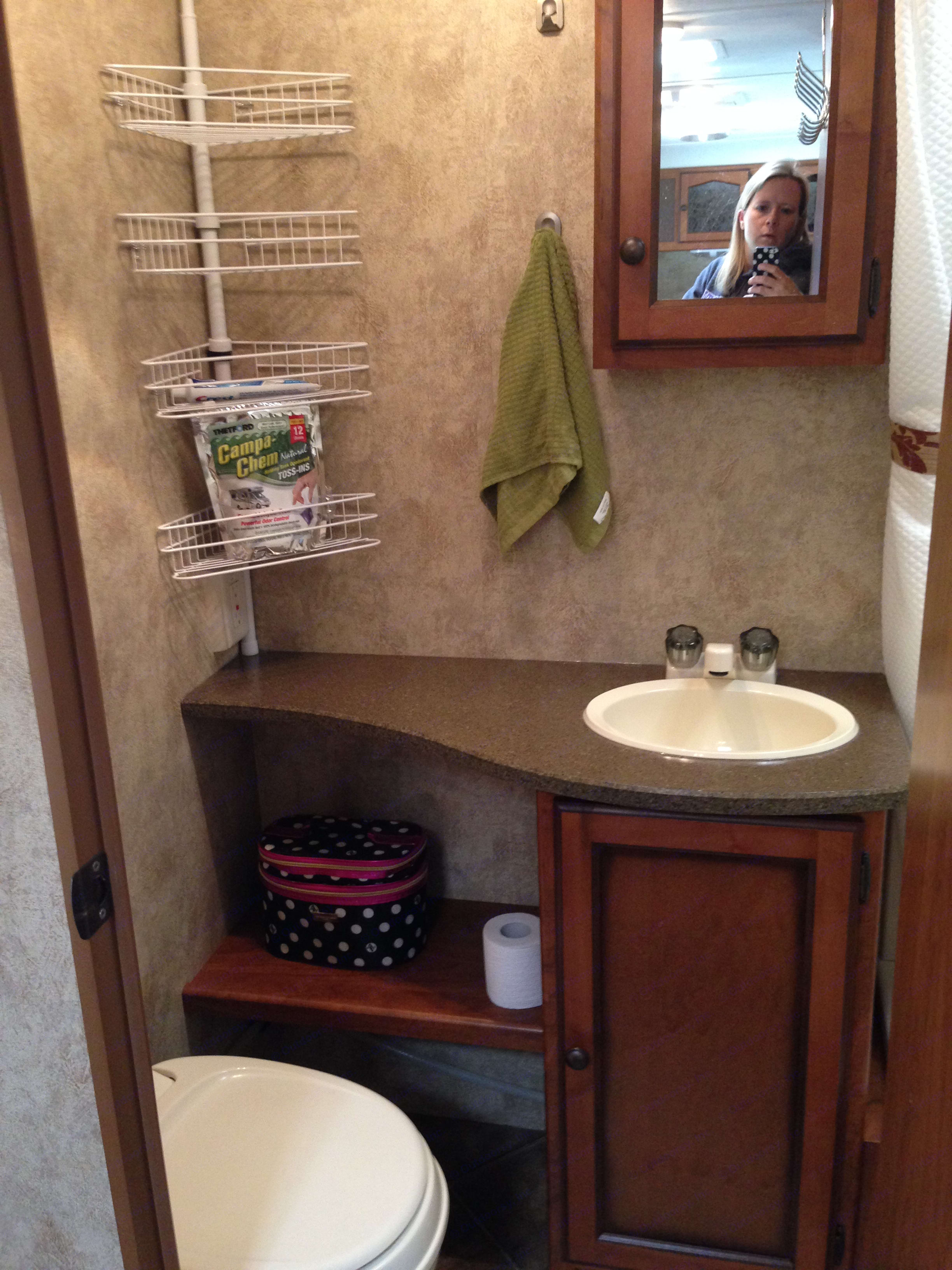 Roomy Bathroom with lots of storage.. Keystone Passport 2012