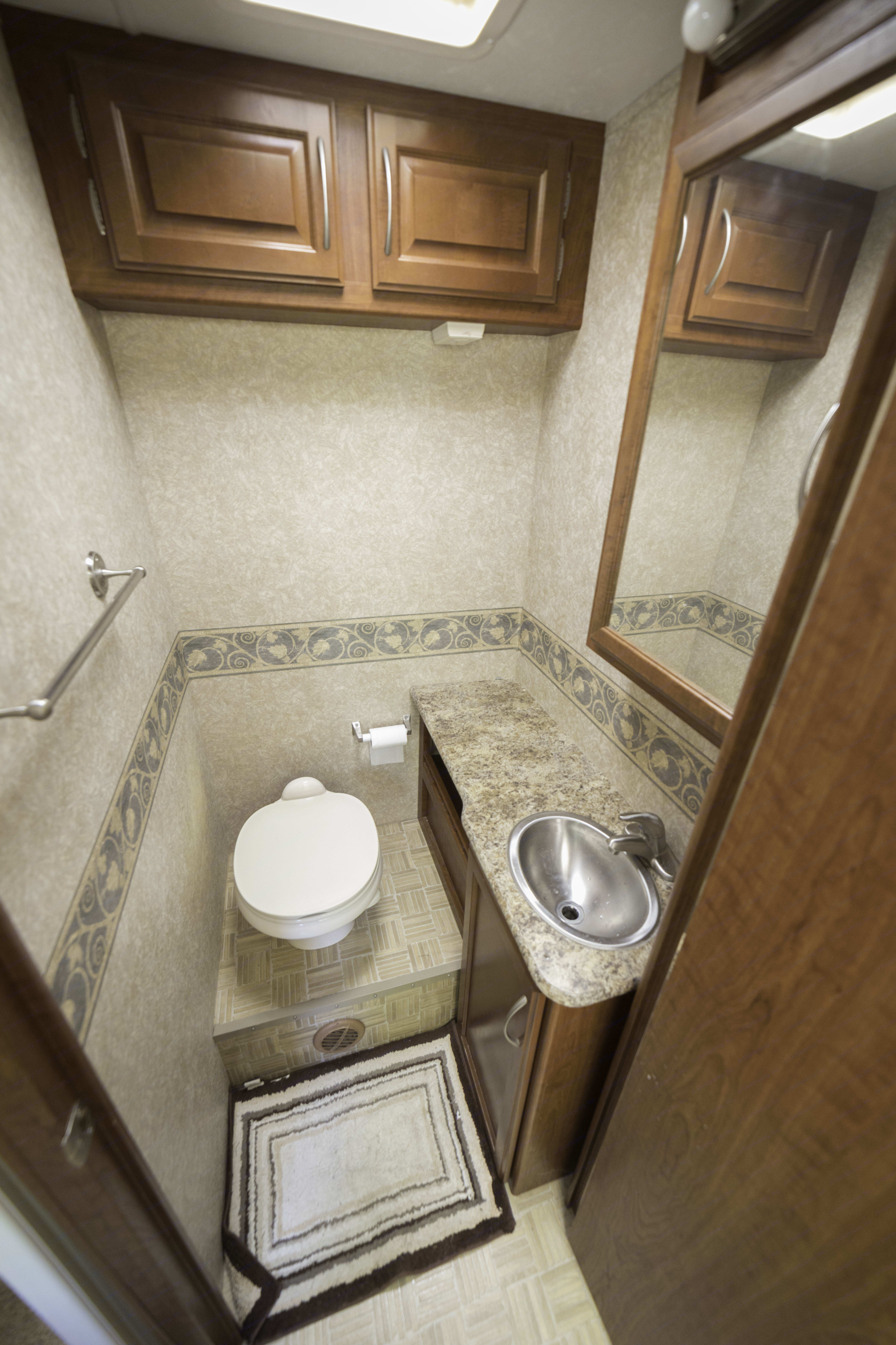 Bathroom with door opened.  When the door is opened it closes off the rest of the RV and back bedroom giving you privacy/access to the Shower and bathroom.  Gives you moving around space.. Thor Motor Coach Four Winds 2009