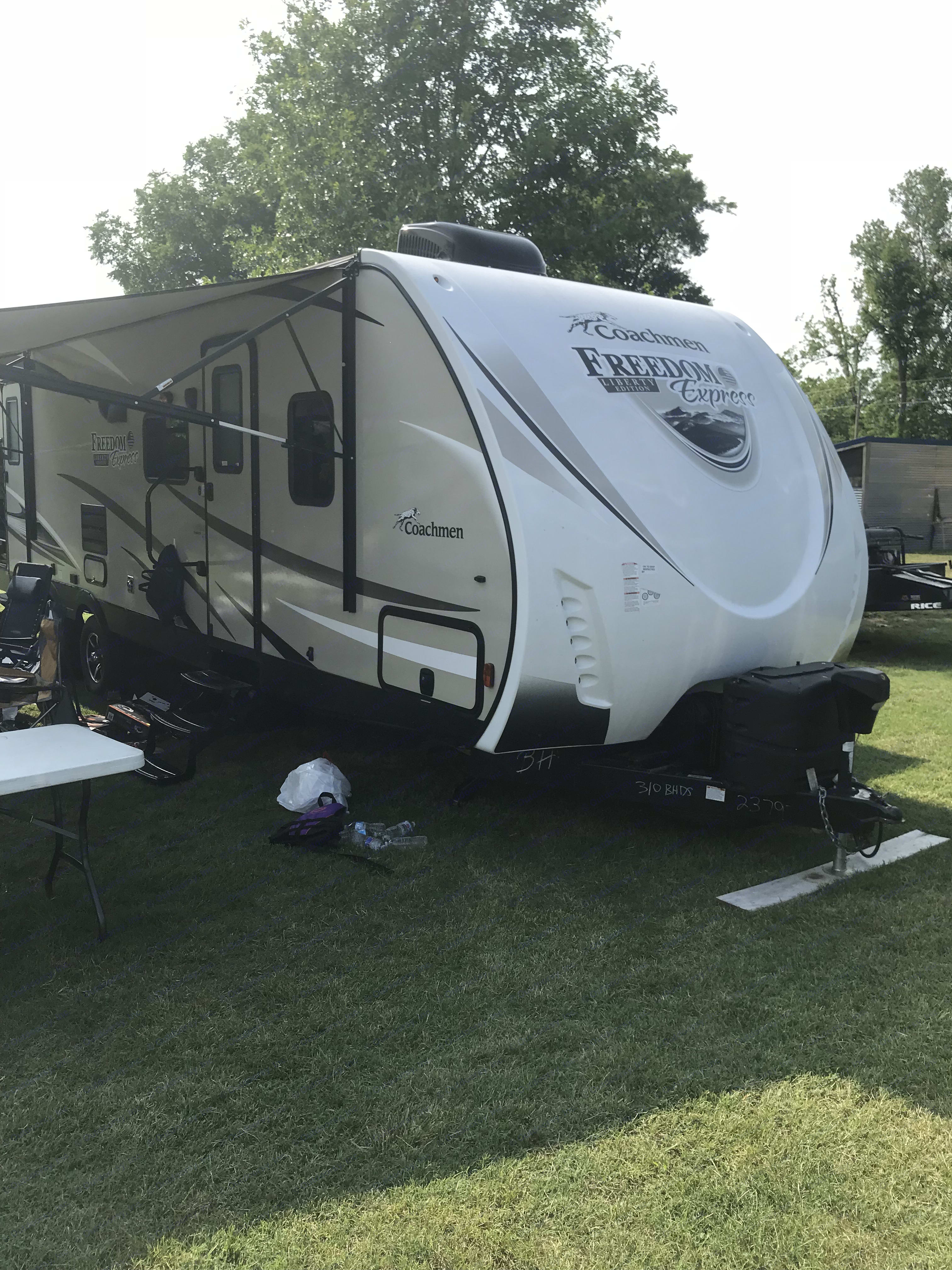 This is the outside with the awning out . Coachmen Freedom Express 2017