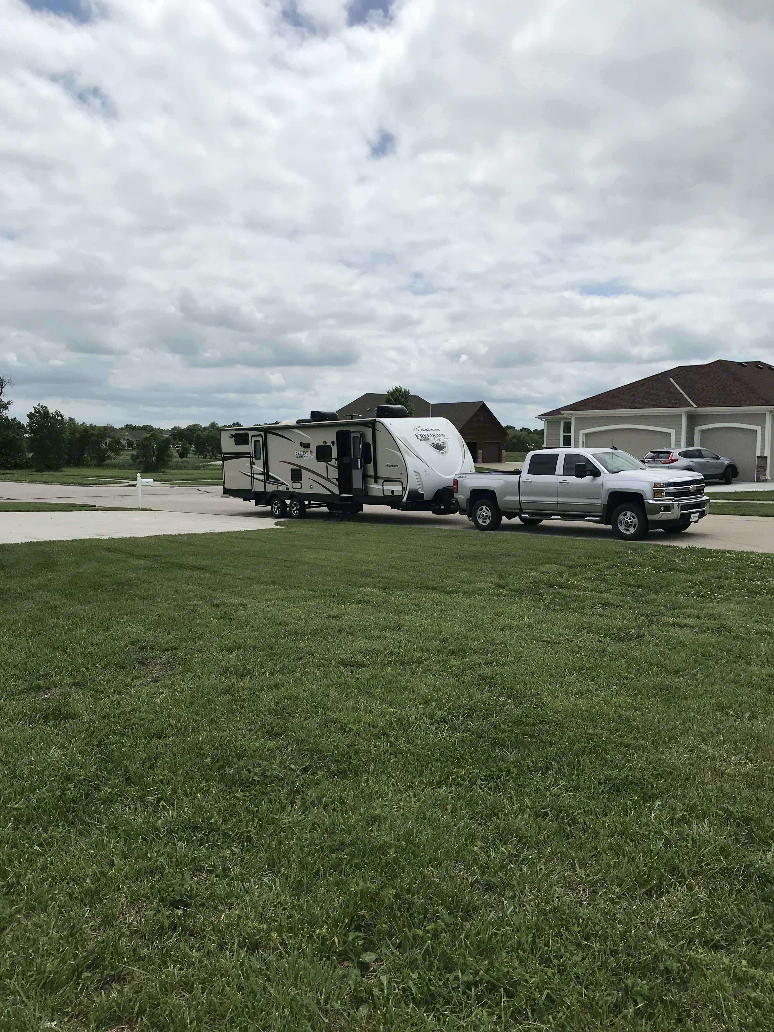 Our rv hooked to our truck after a trip we just took. Coachmen Freedom Express 2017