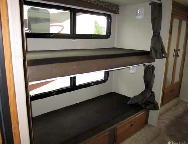 Double bunks with privacy curtain . Jayco Redhawk 2017