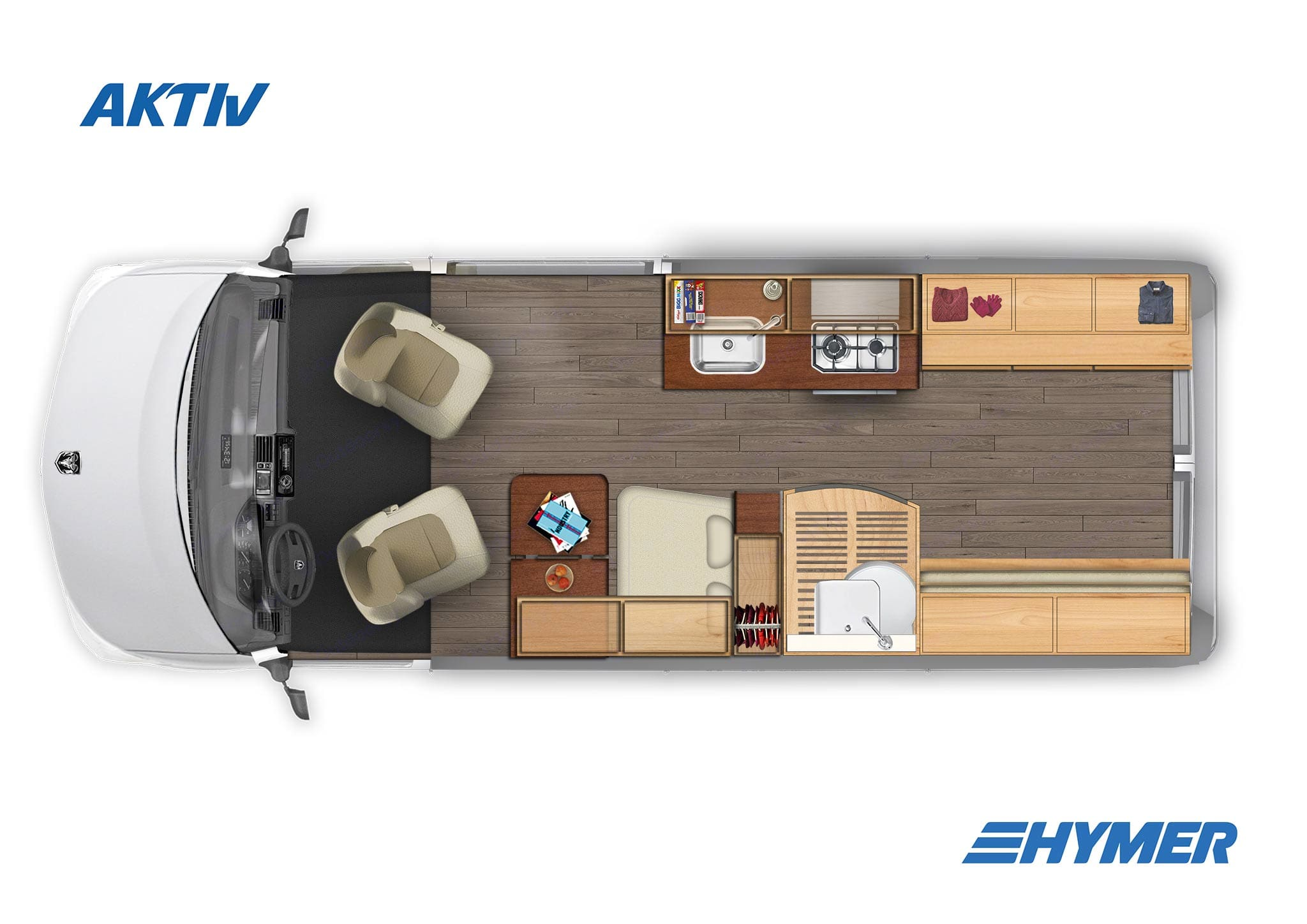 Day time arrangement w/ bed up. Hymer Aktiv 2018