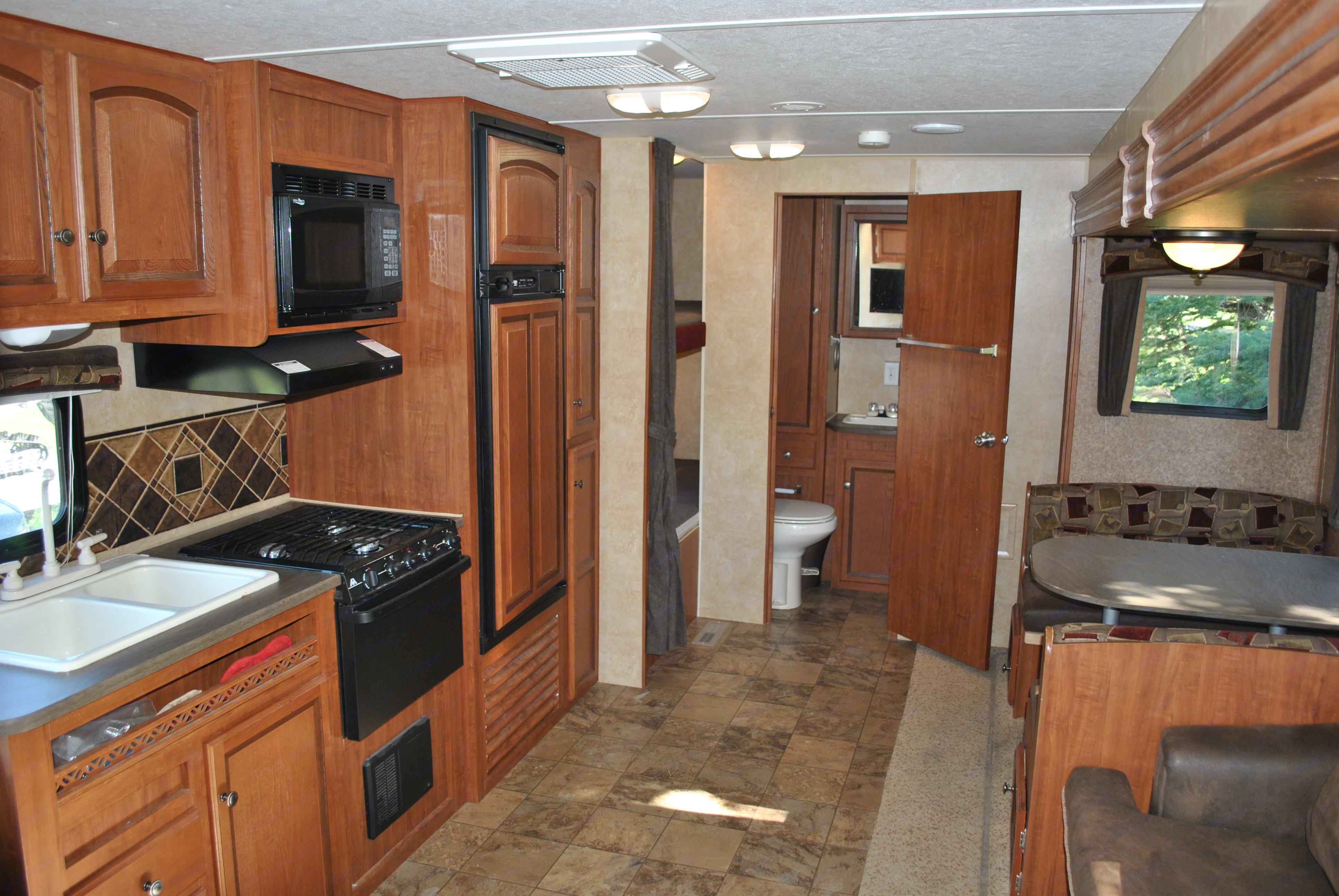 Living area looking rearward with kitchen area on left.. Jayco Jay Flight 2012