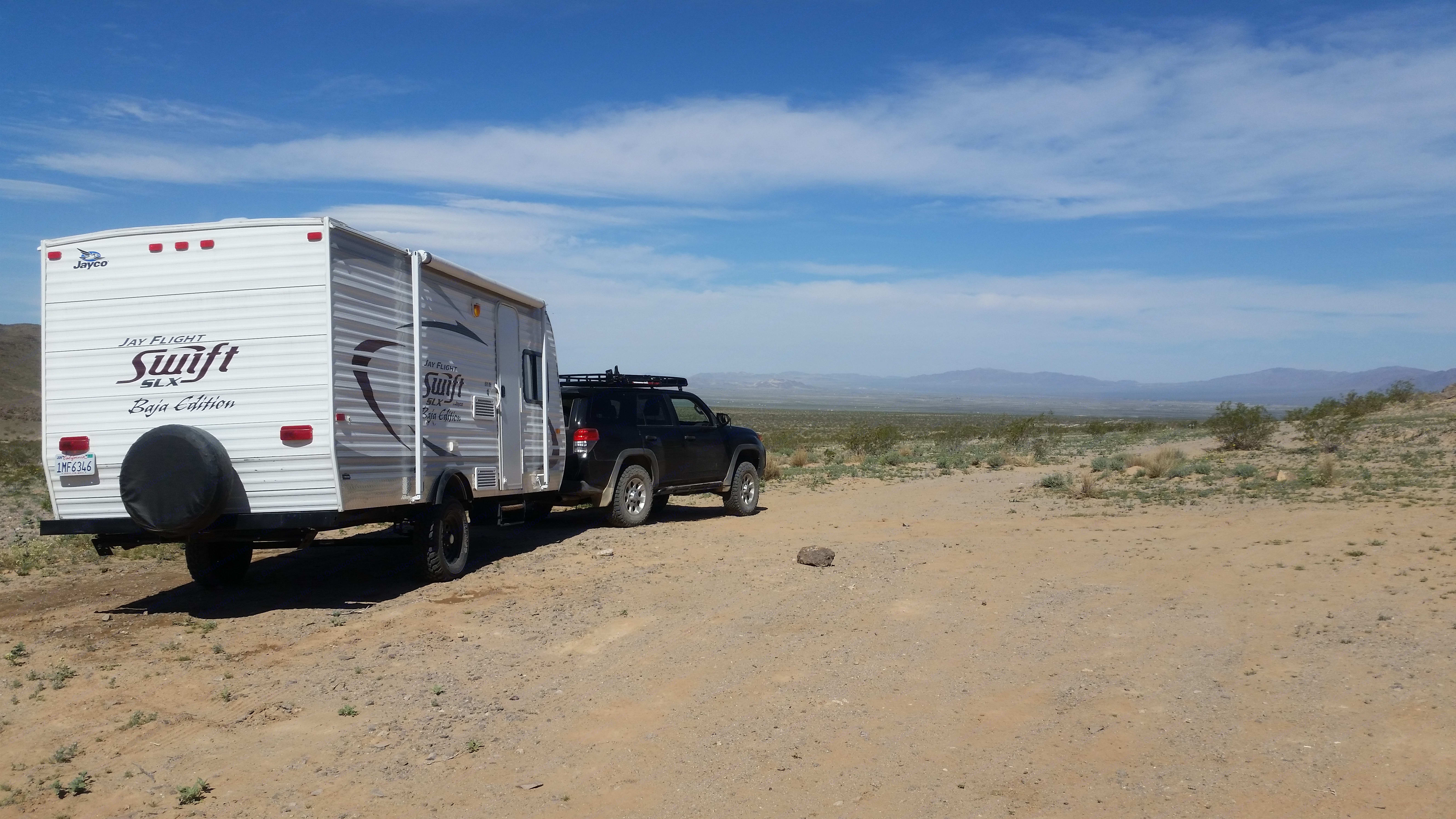 Our Baja dry camping out in the Old Dale area near Joshua Tree National Park.. Jayco Baja 2014