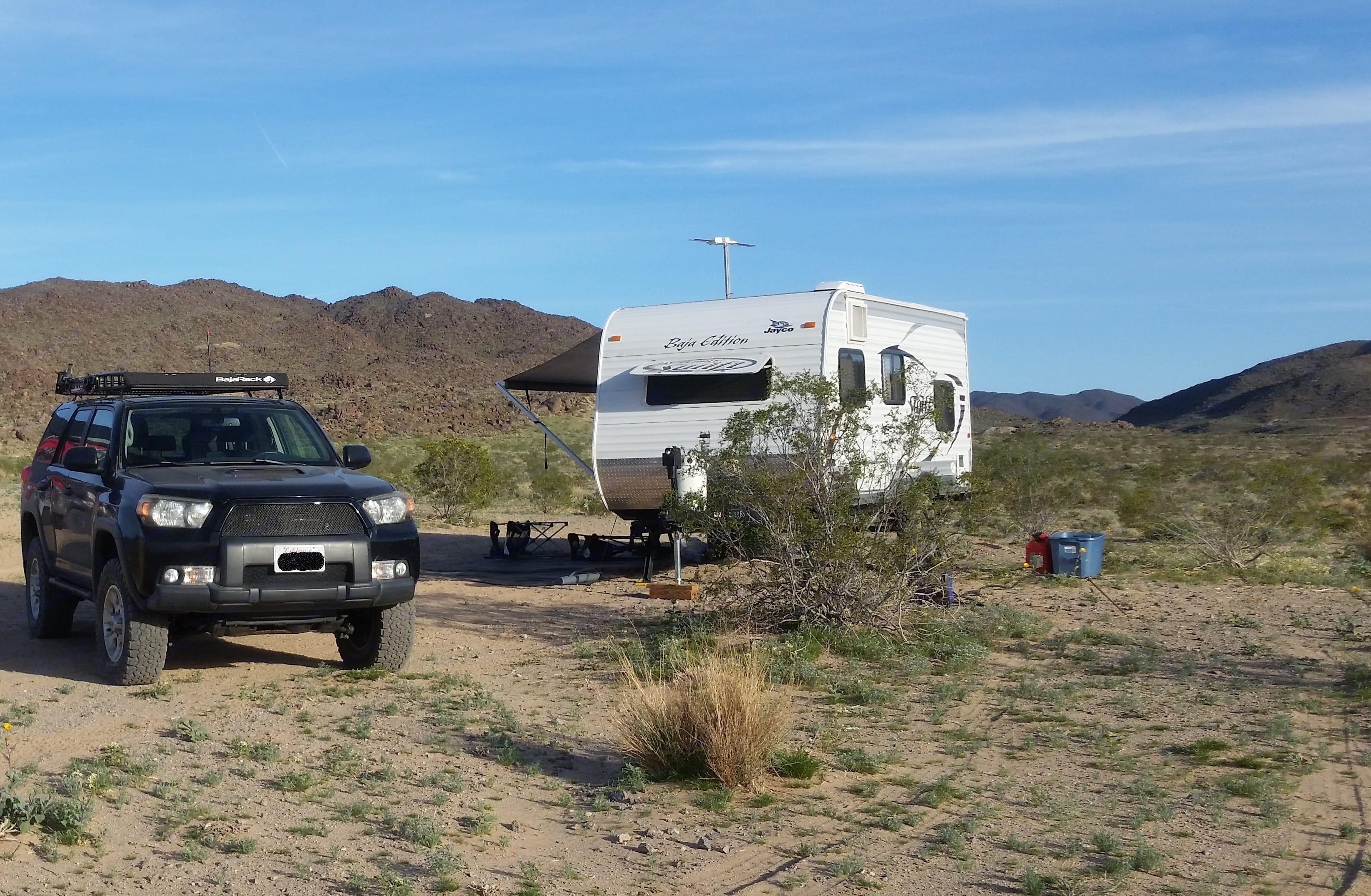 The Baja all set up in the desert.. Jayco Baja 2014